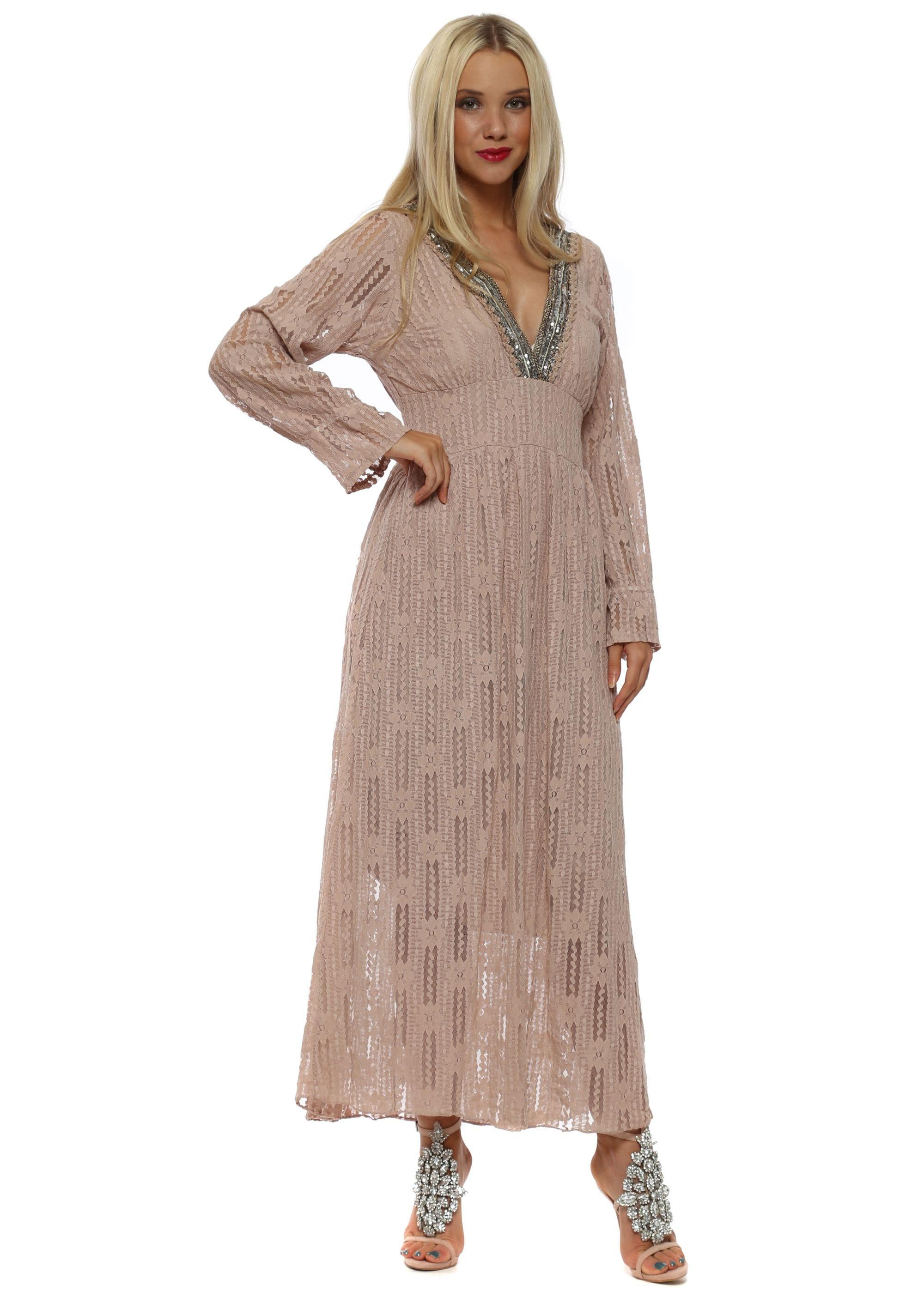 7a8a2f71e12 Pinka Dusky Pink Lace Maxi Dress