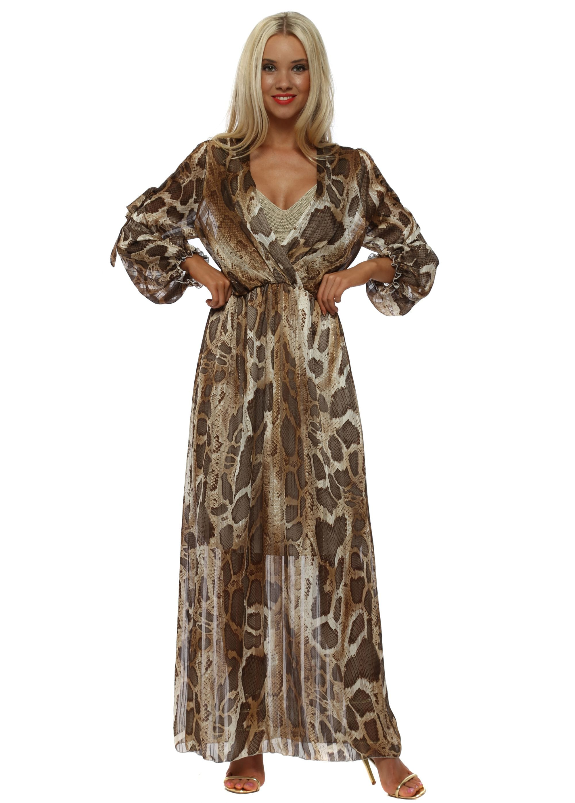 Brown Snakeskin Wrap Maxi Dress By My Story
