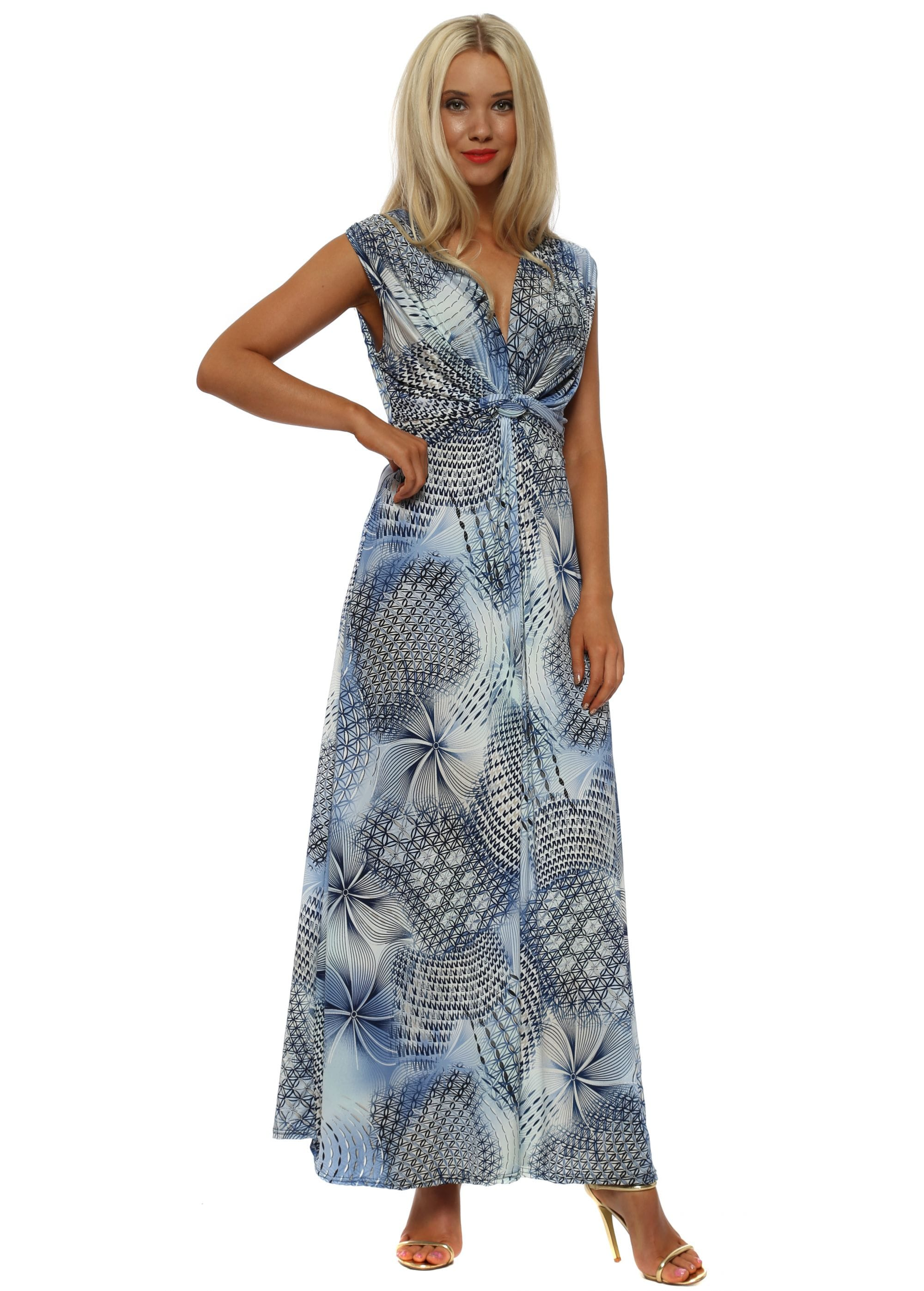 edf29ace22 Blue Abstract Print Knot Front Maxi Dress