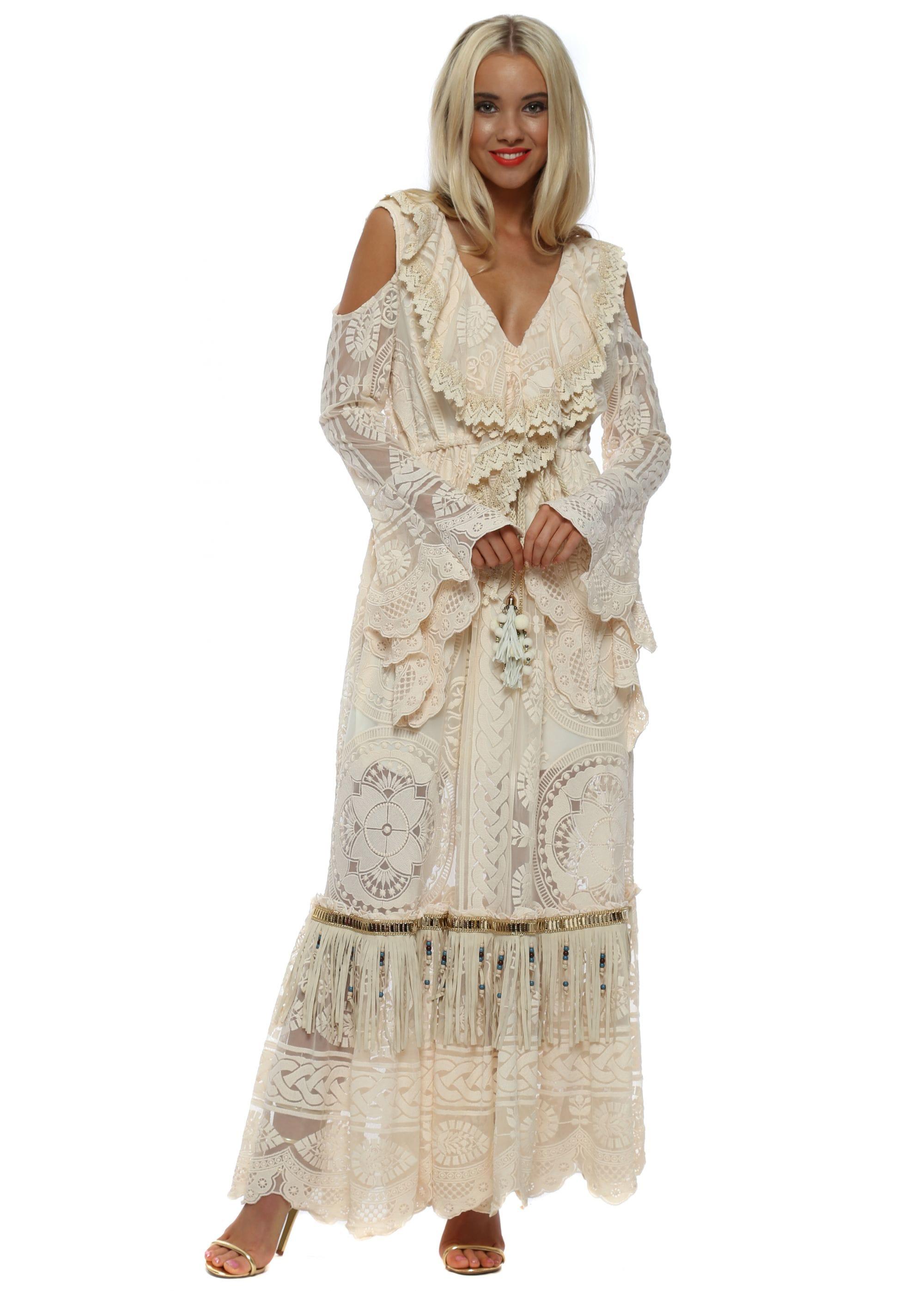 59eaa3b5bab8e Laurie & Joe Cream Lace Long Sleeve Maxi Dress