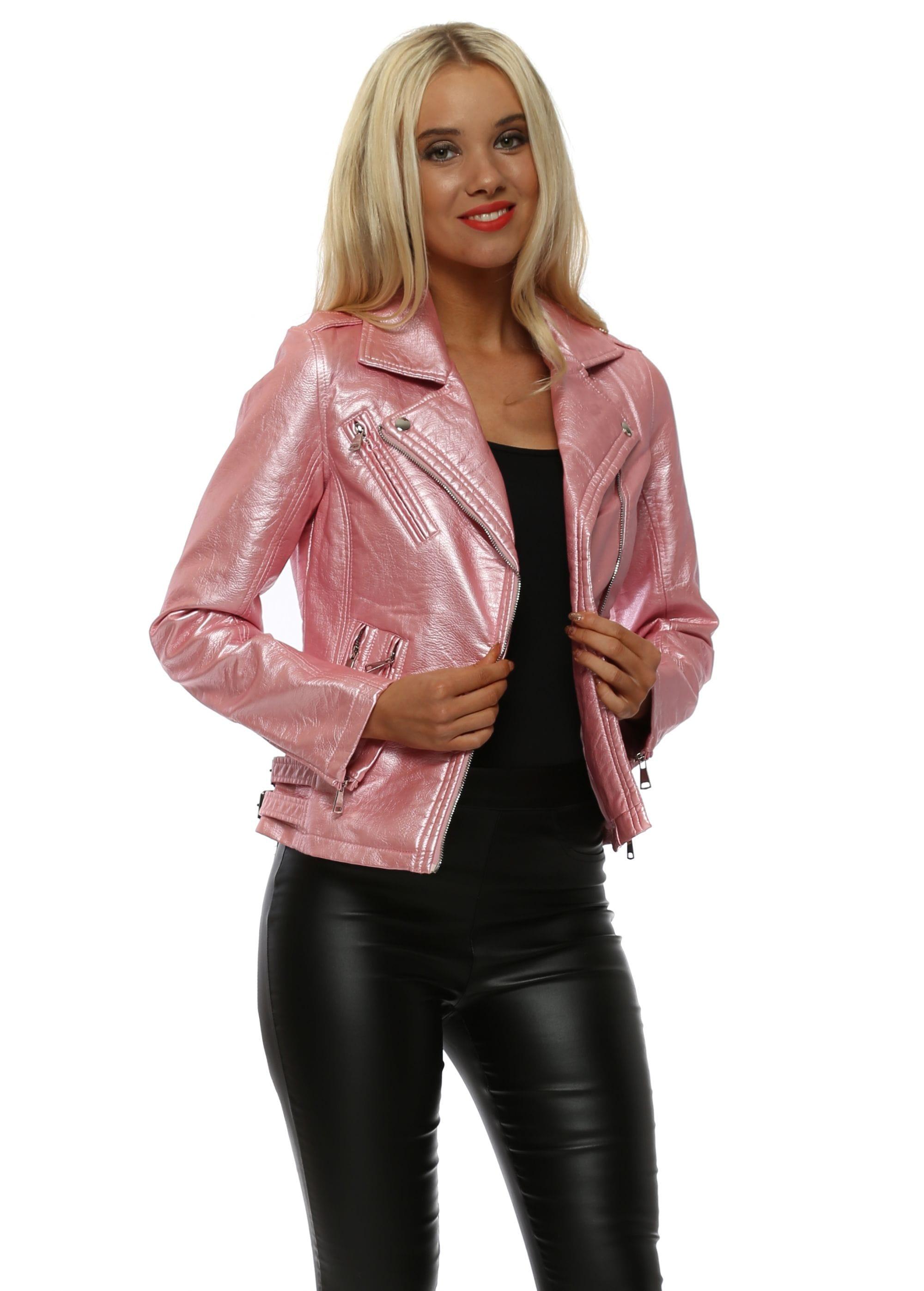 Pink Metallic Faux Leather Biker Jacket