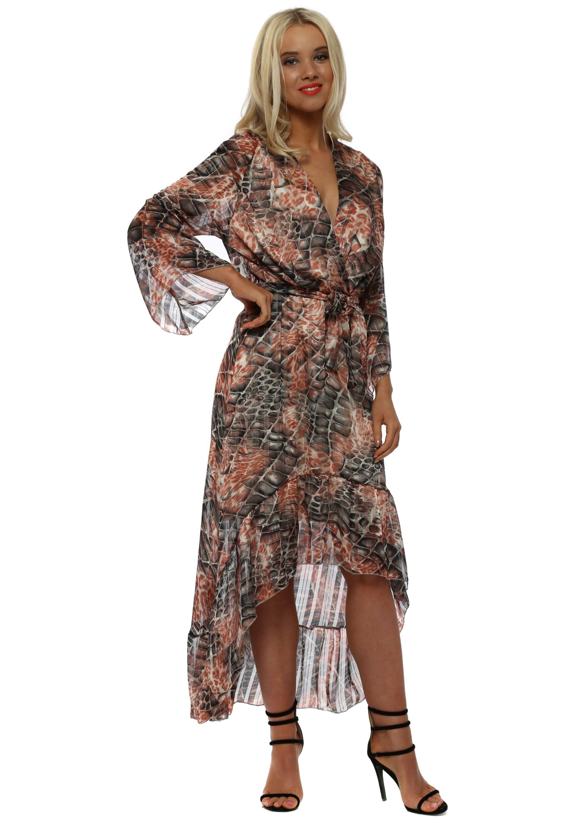 Pink Moc Croc Print High Low Wrap Dress