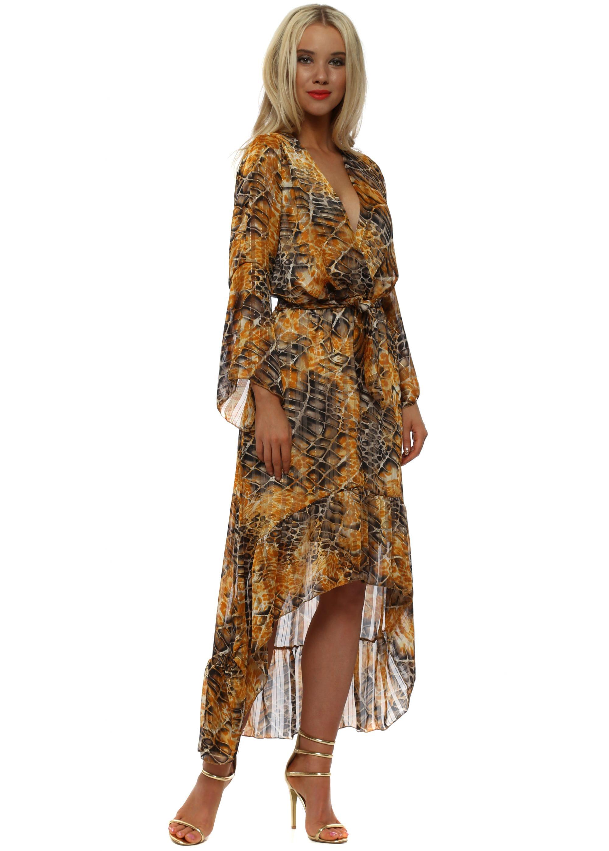 ce17989517e Amber Moc Croc Print High Low Wrap Dress