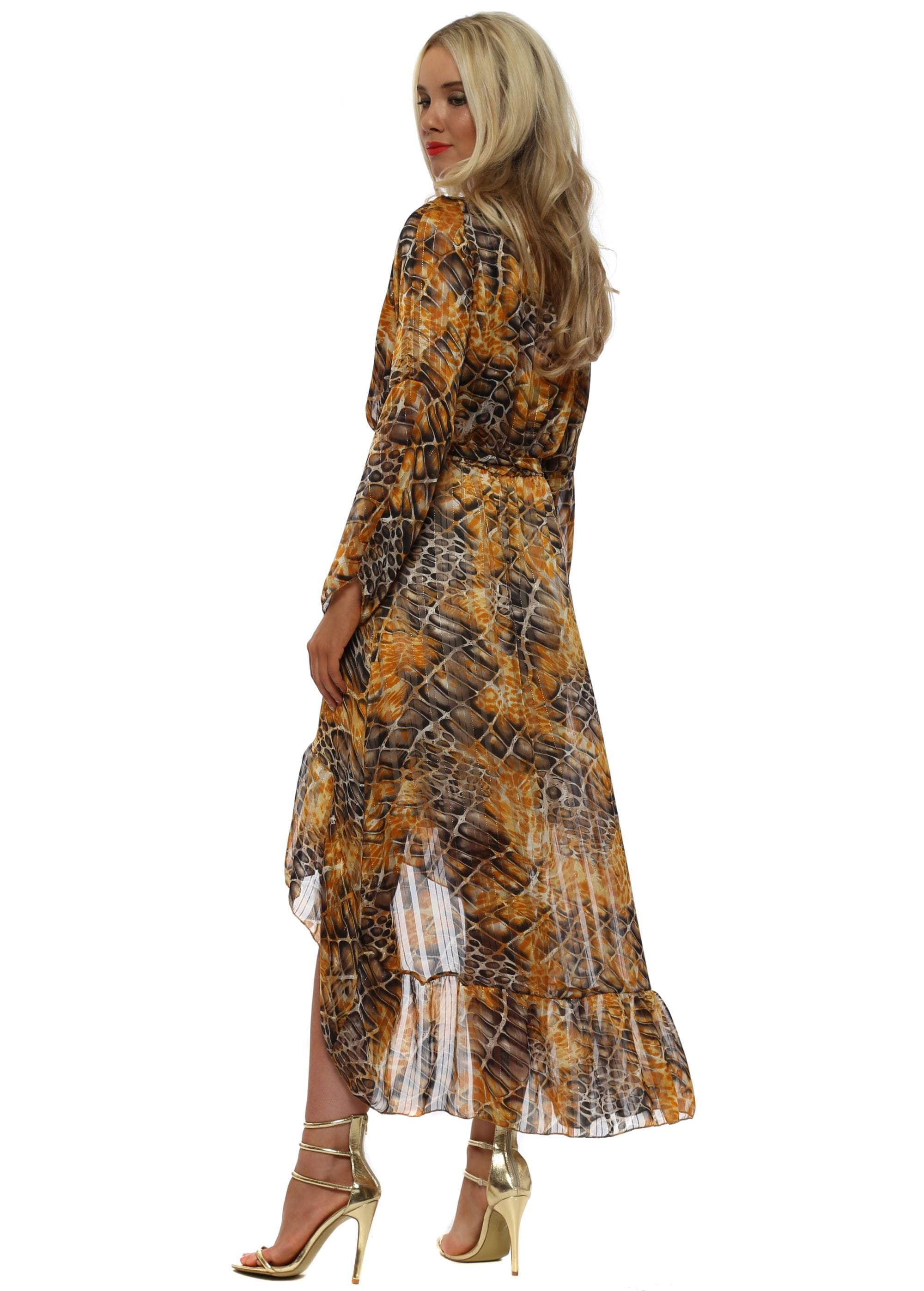 Amber Moc Croc Print High Low Wrap Dress