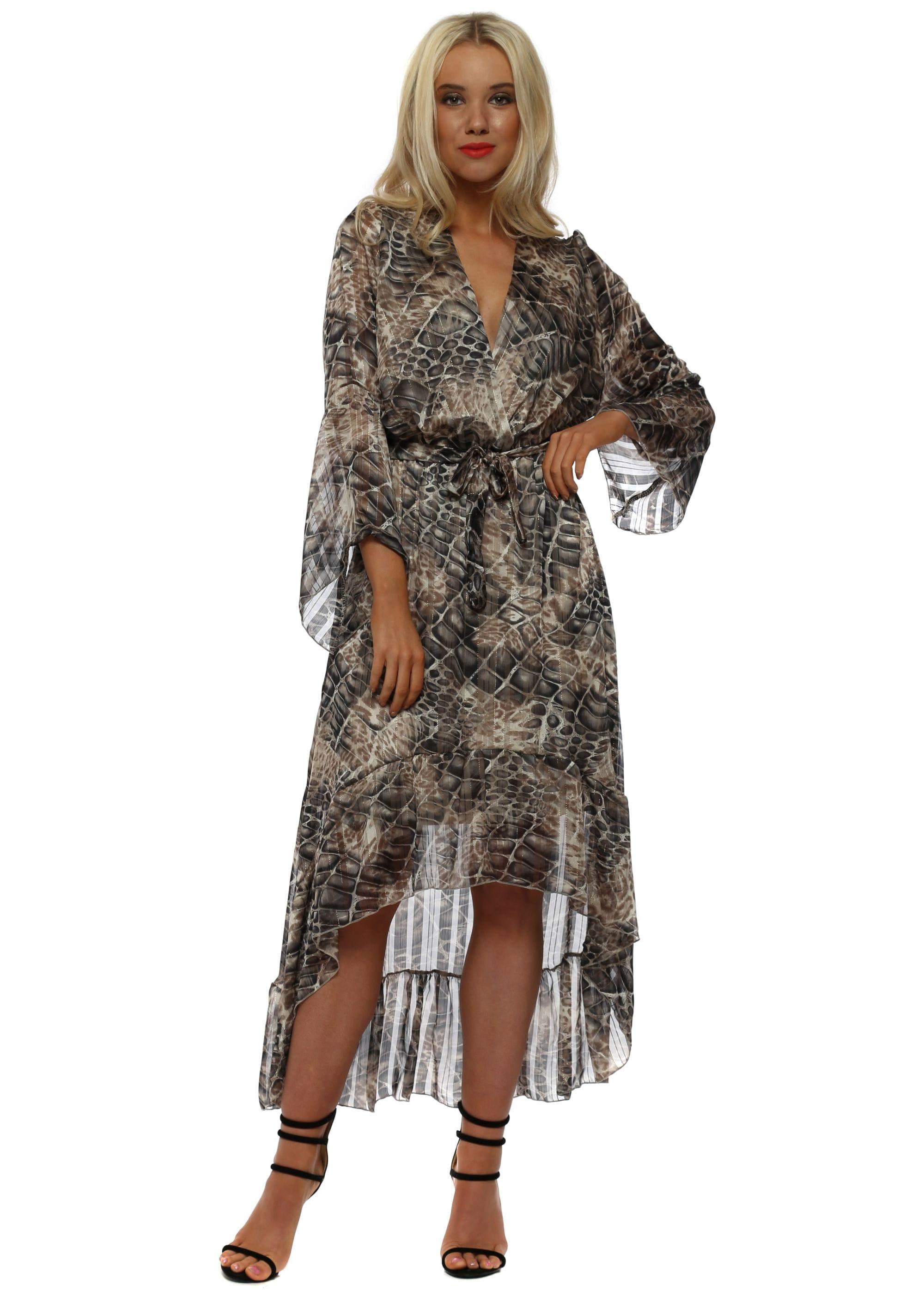 Brown Moc Croc Print High Low Wrap Dress