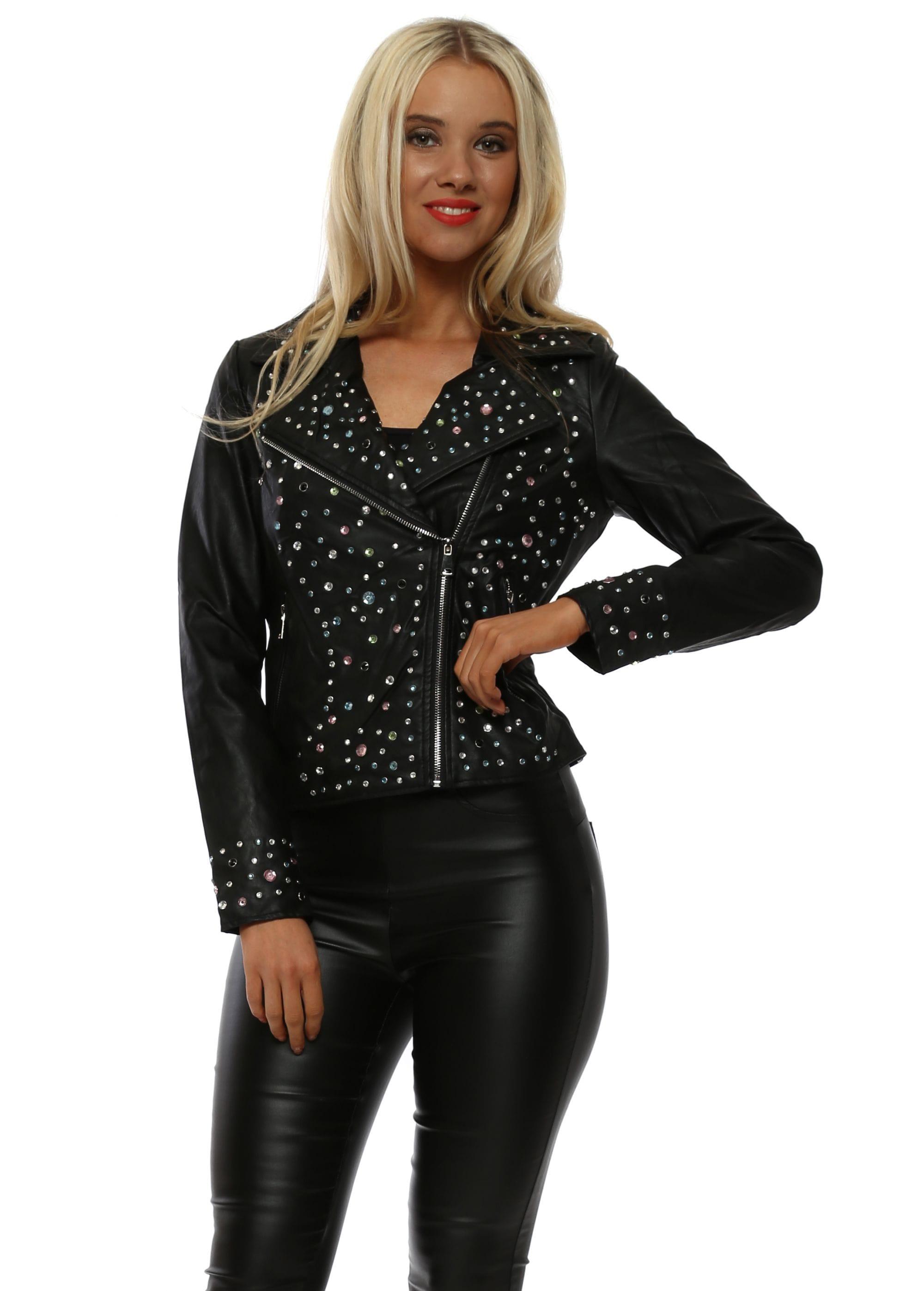 4b3637da3d80 Black Rainbow Crystal Faux Leather Biker Jacket