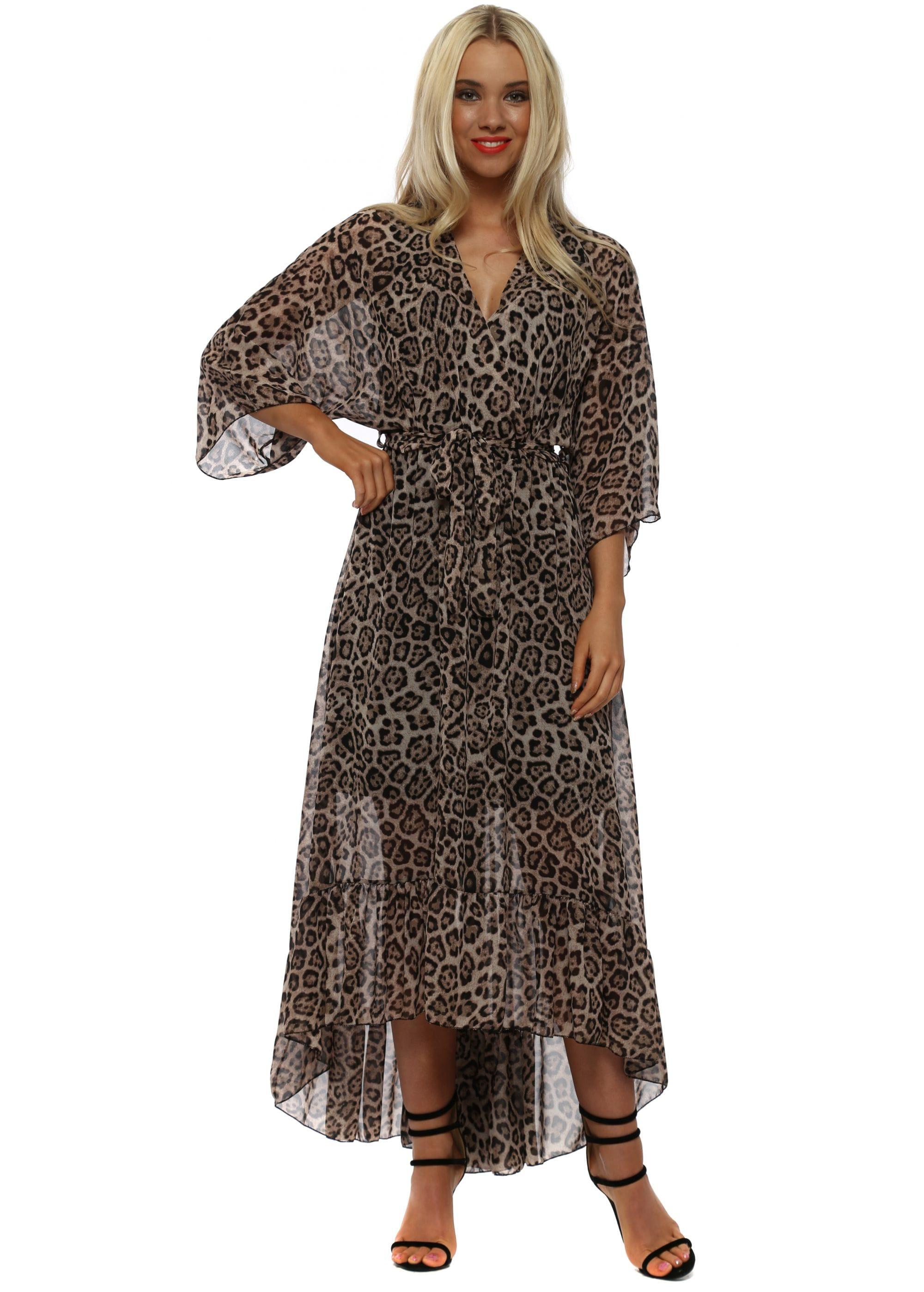 e89683f28494 Mocha Cheetah Print Chiffon High Low Dress