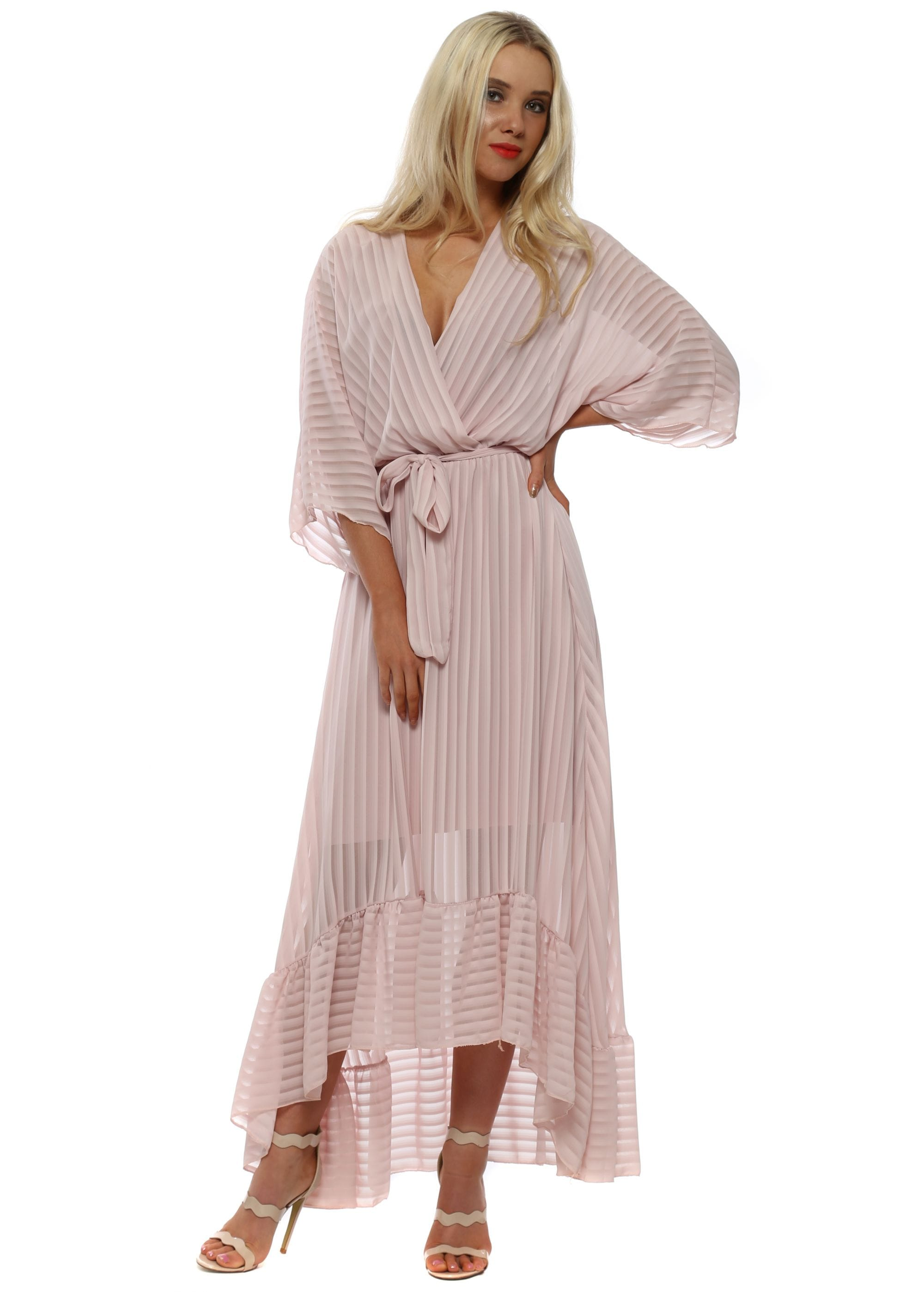 9f0a1d4935e9 Pink High Low Plunge Belted Maxi Dress