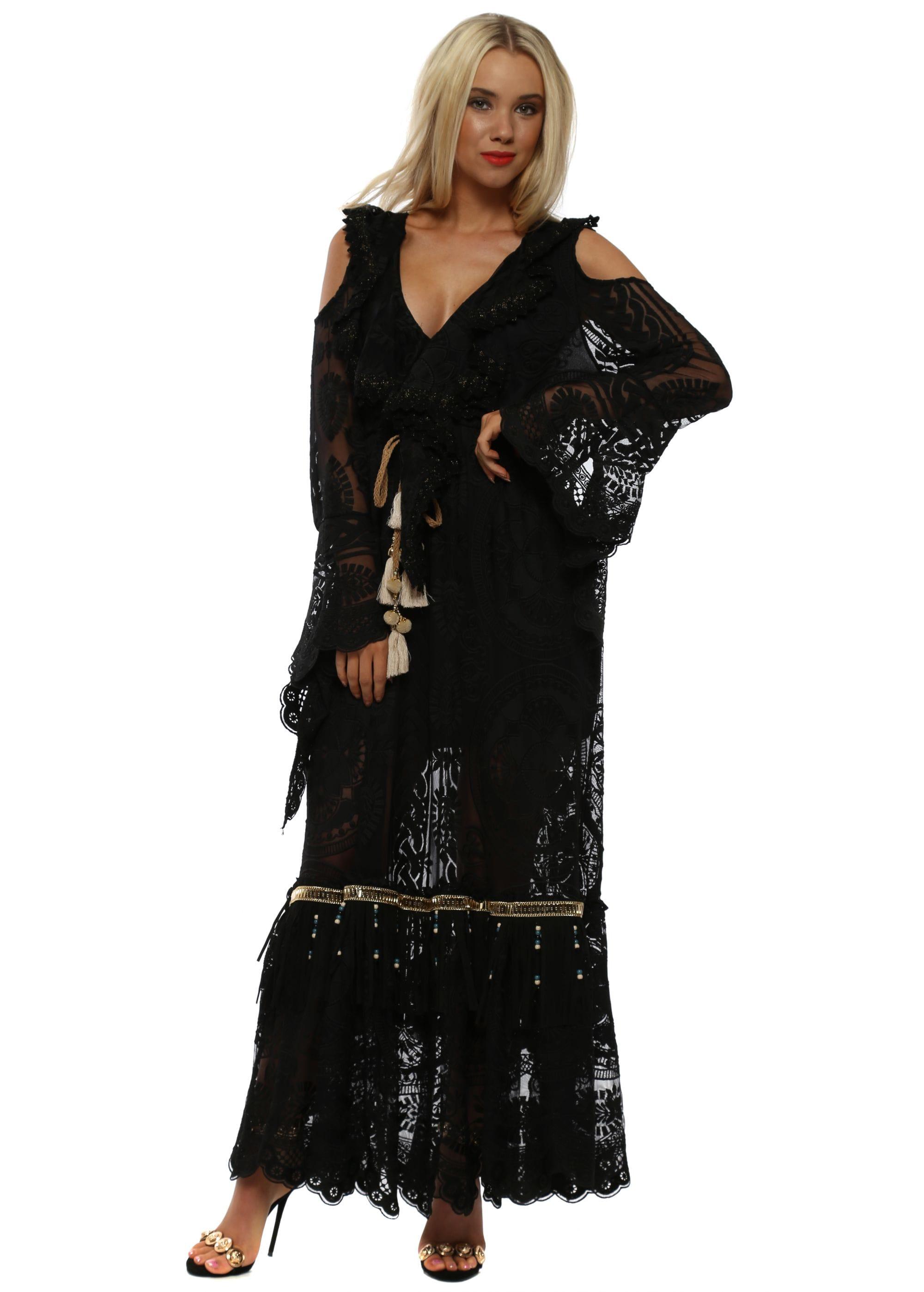 8f075dabd33f Black Lace Cold Shoulder Boho Maxi Dress