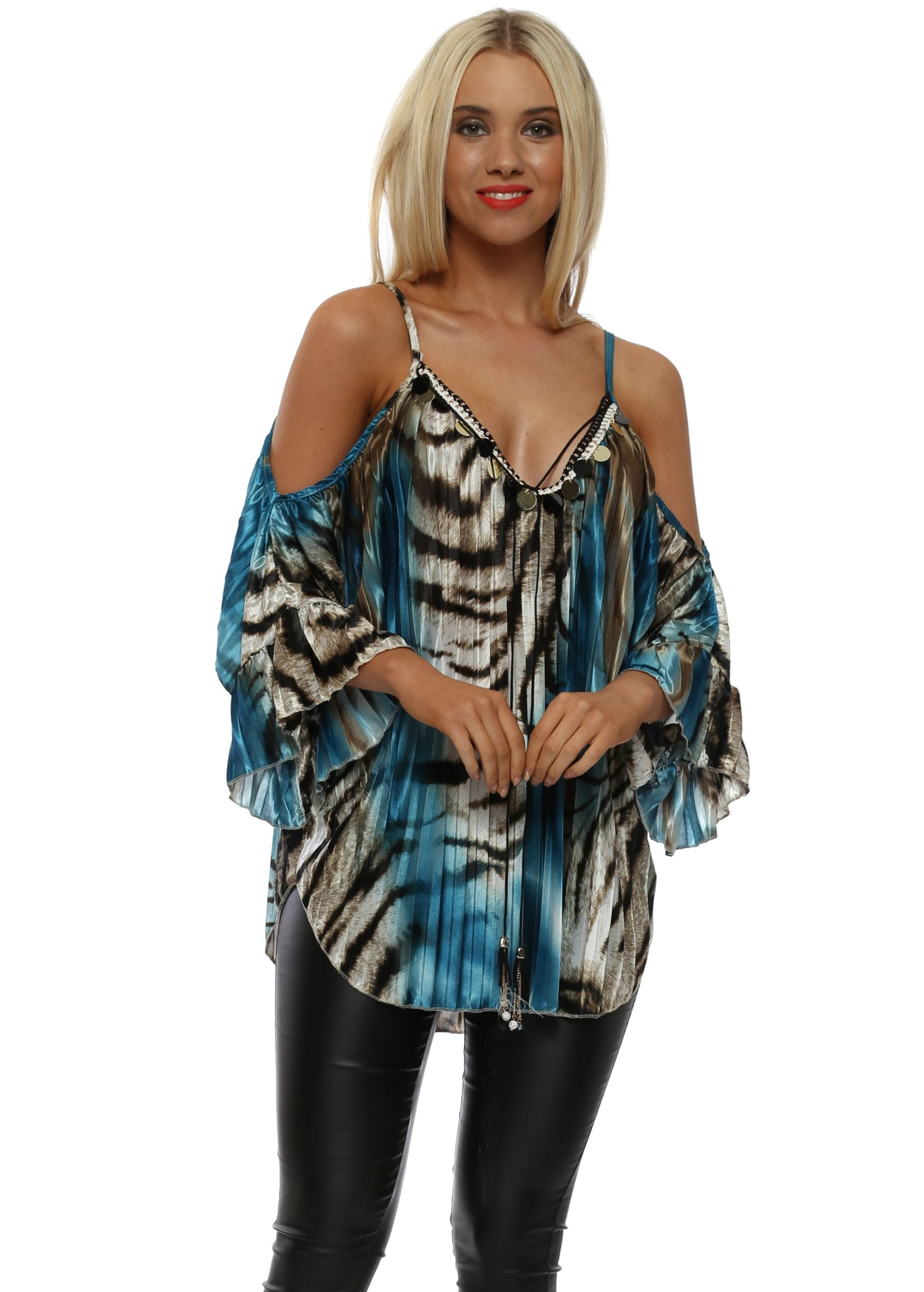 0178e303f9aa Blue Animal Print Pleated Sateen Cold Shoulder Top