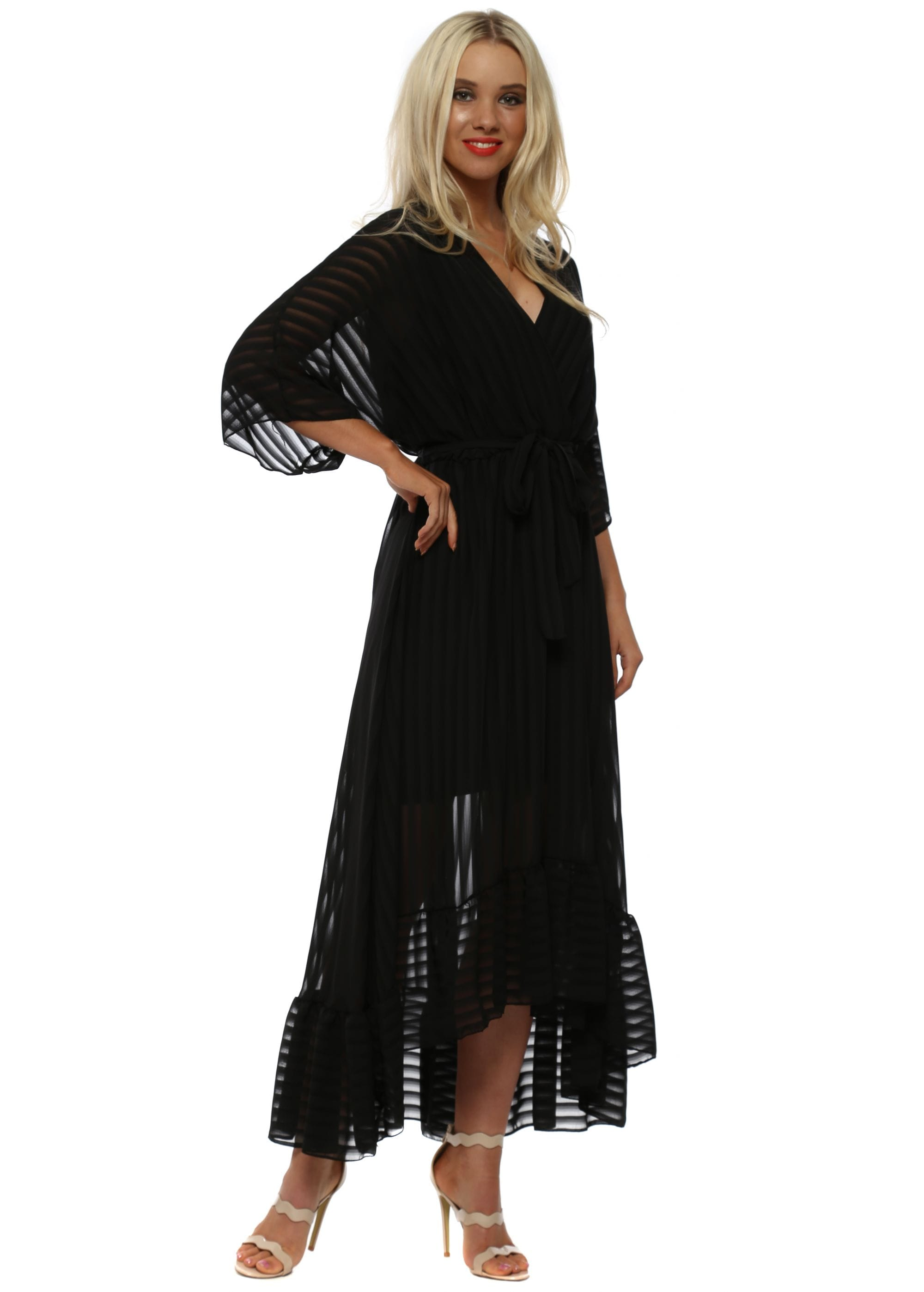 1c13bf7a34 Black High Low Plunge Belted Maxi Dress