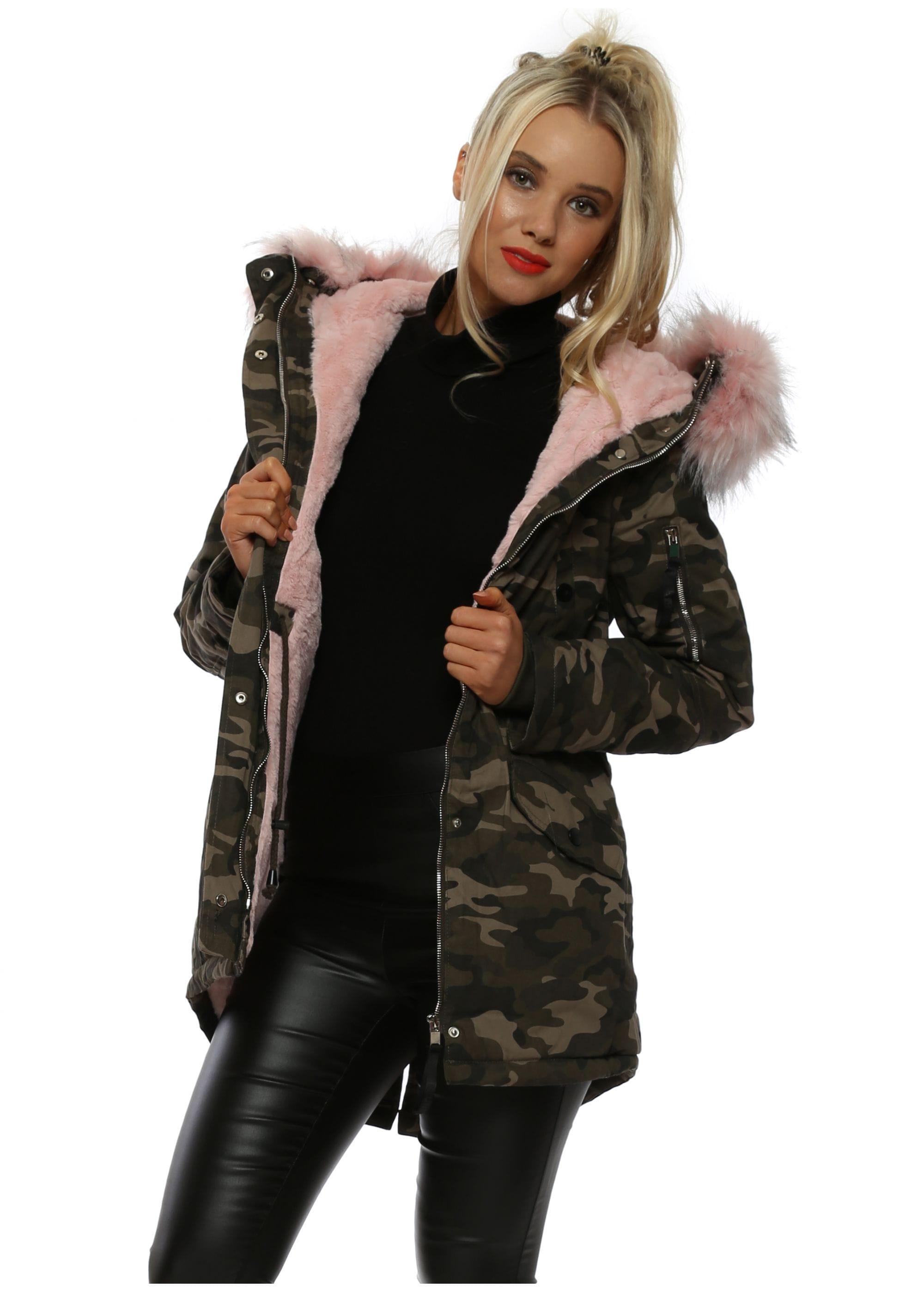 bec51a3af89cd Pink Camouflage Fur Parka - Sixth June