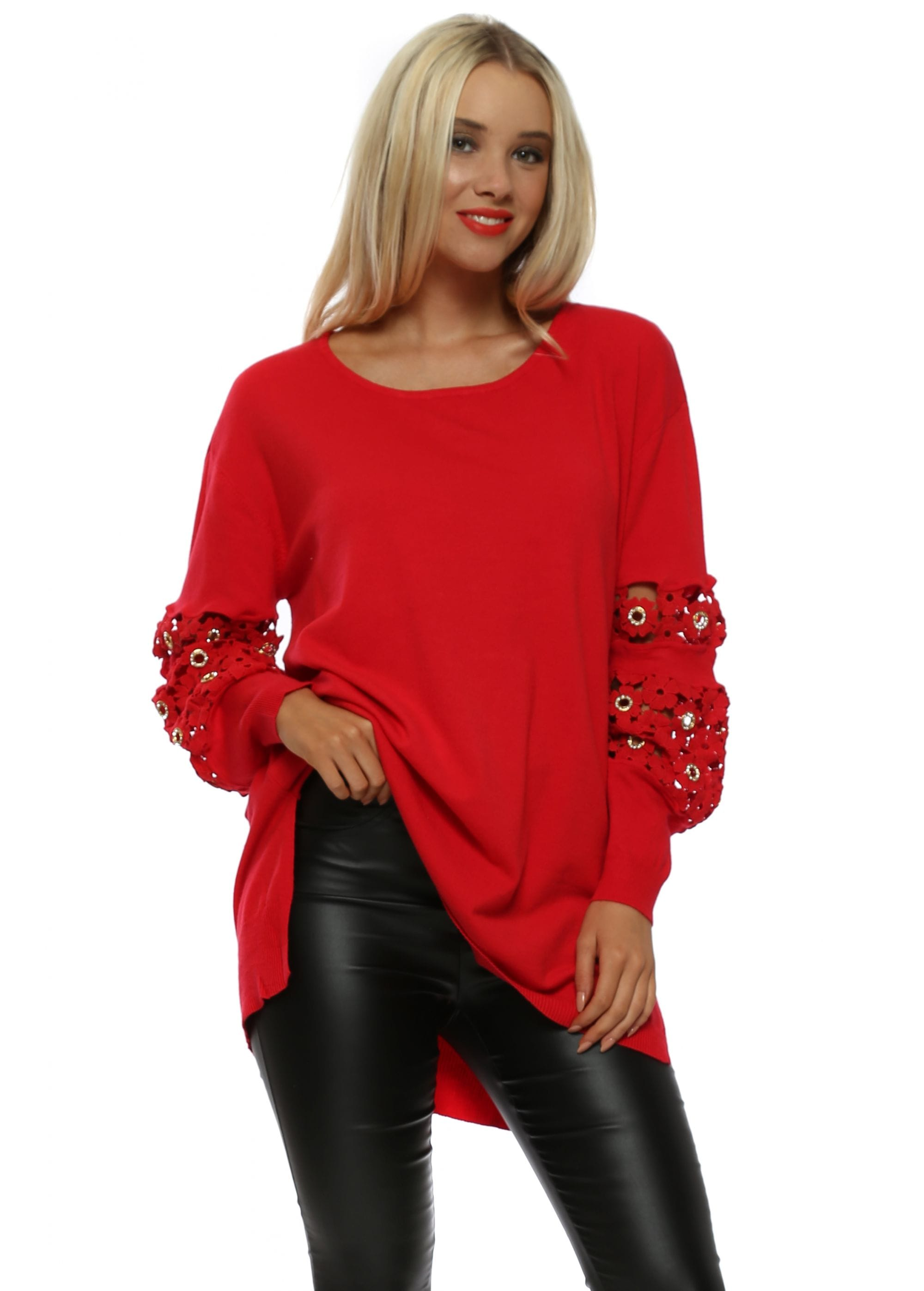2da0a932647 Red Crochet Floral   Crystal Sleeve Longline Jumper