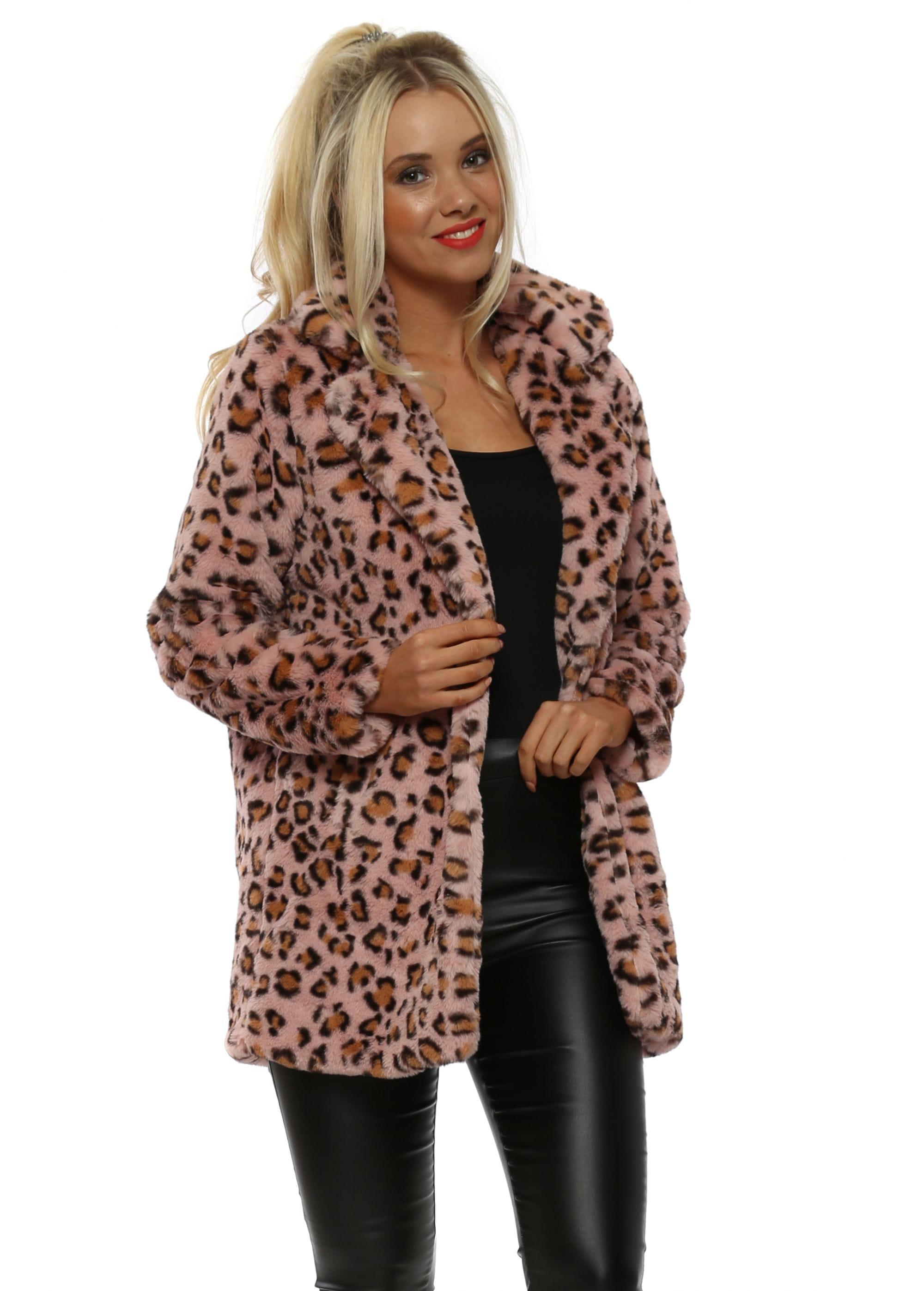 6171ee34585e Baby Pink Leopard Print Faux Fur Coat