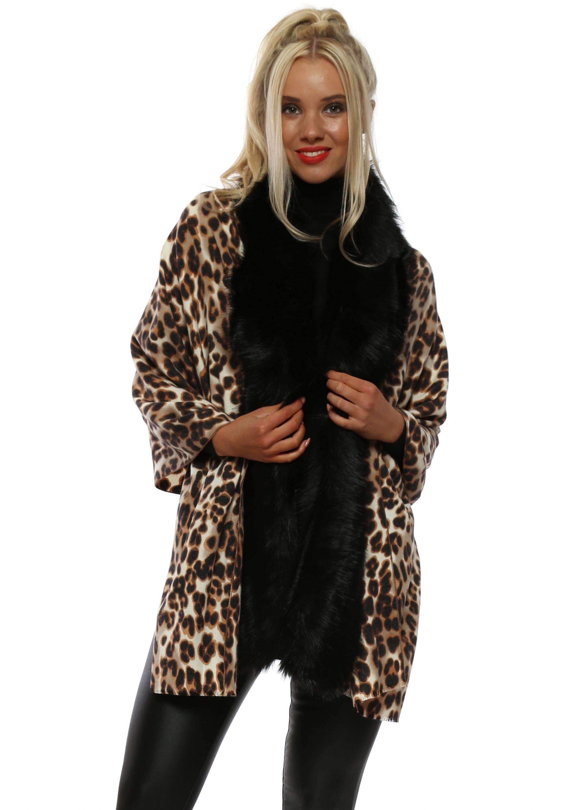 398124dc4209 Leopard Print Faux Fur Shawl Wrap