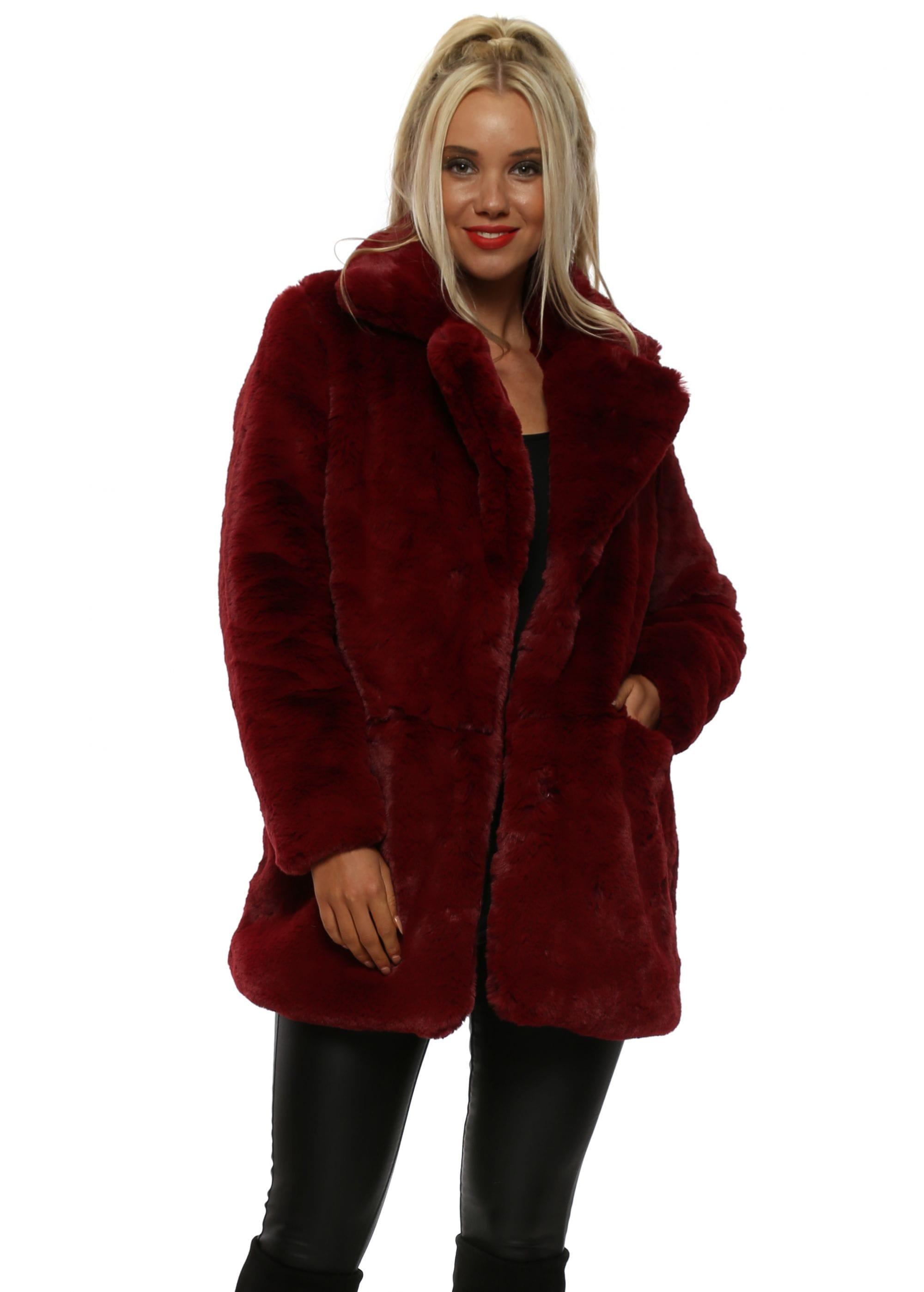 0d273bbd151 Burgundy Luxurious Full Faux Fur Coat
