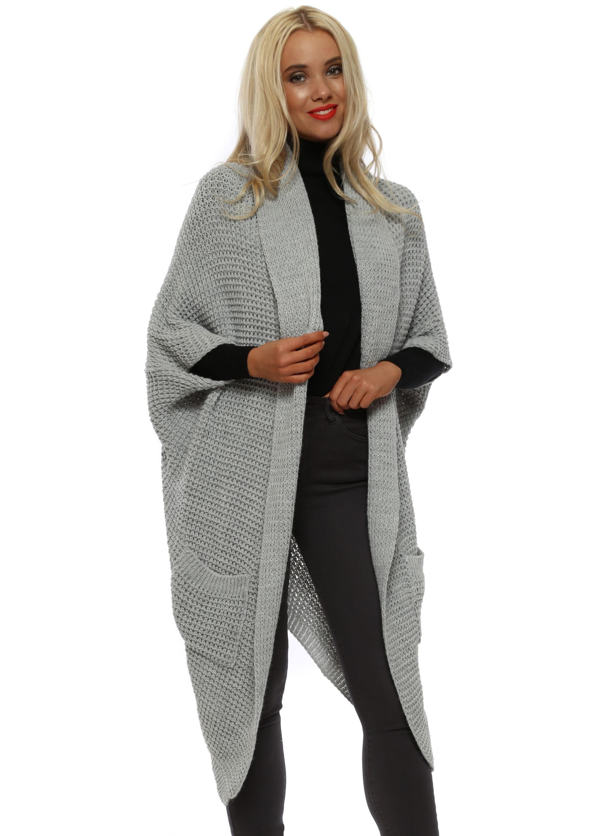 1fffdebdfe Belle Fa Grey Chunky Knit Long Cardigan