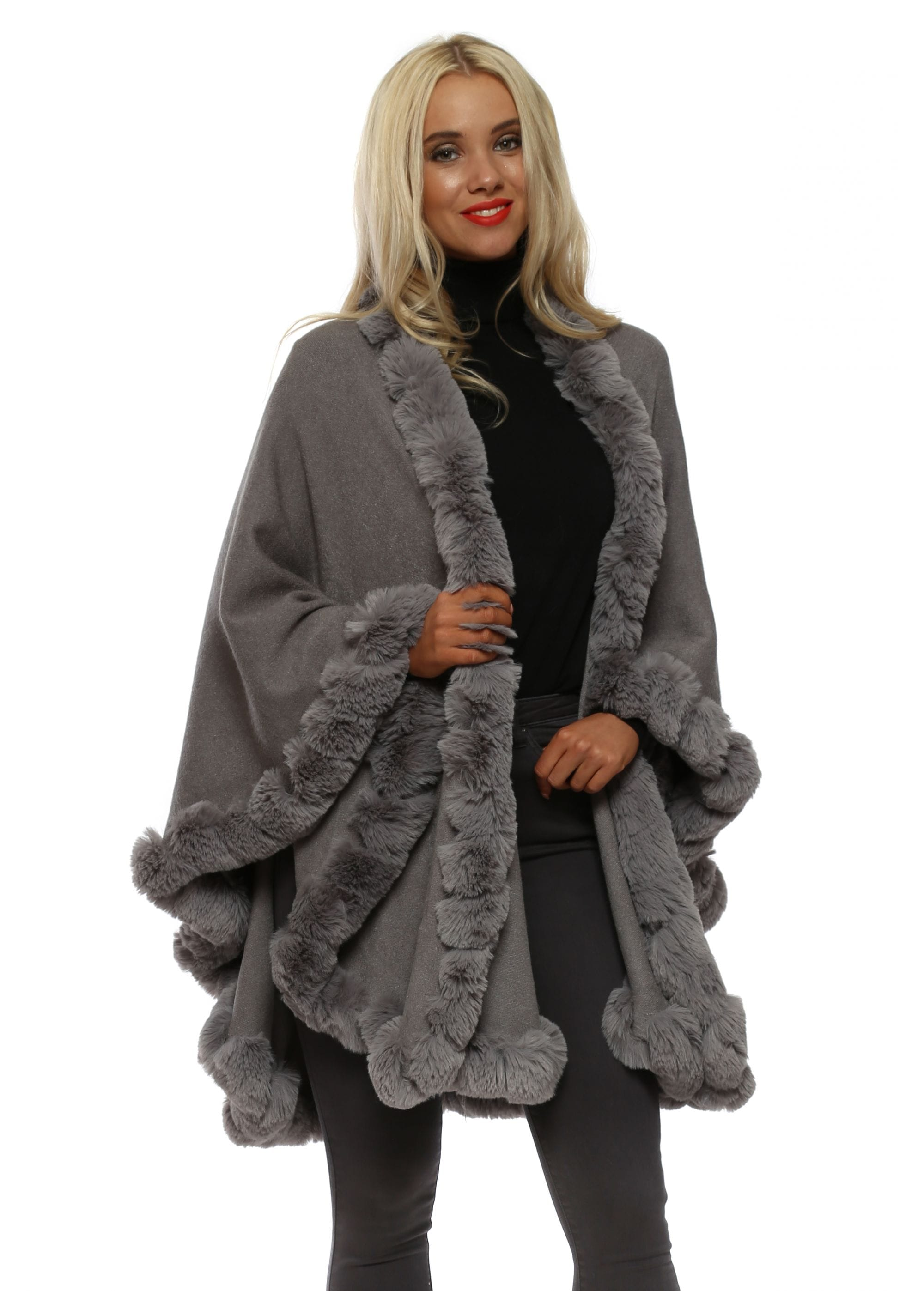 98960a5fc Grey Knit Faux Fur Trimmed Cape