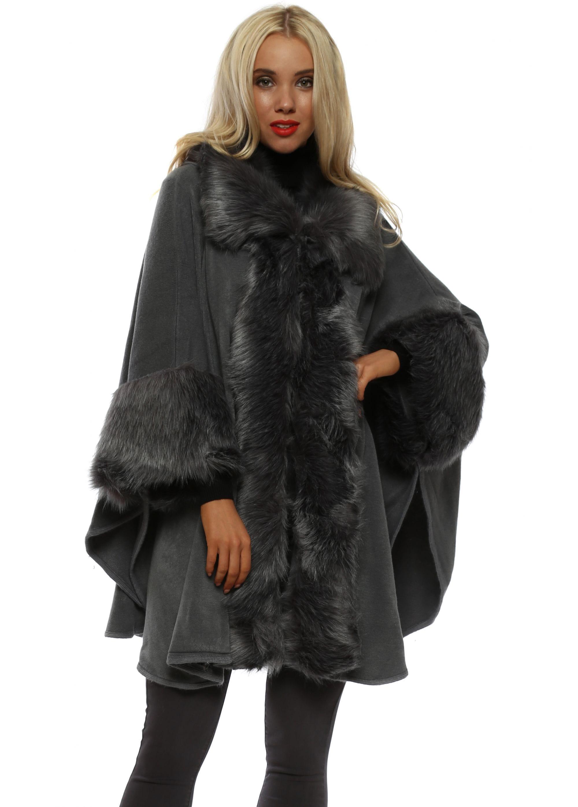 77113a8b710e Dark Grey Faux Fur Collar  amp  Cuff Swing Cape