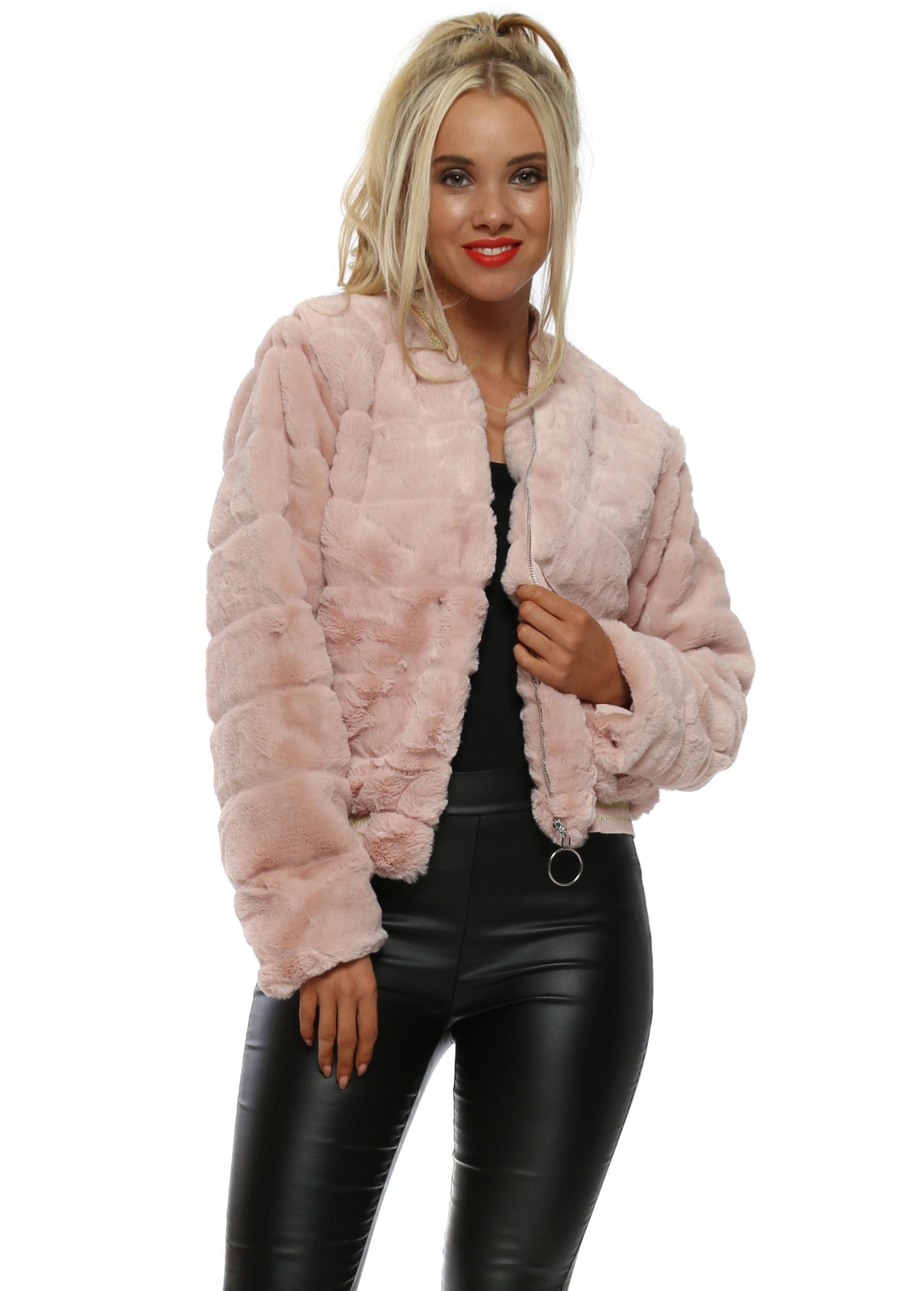 09f5a794253 Pink Faux Fur Bomber Jacket