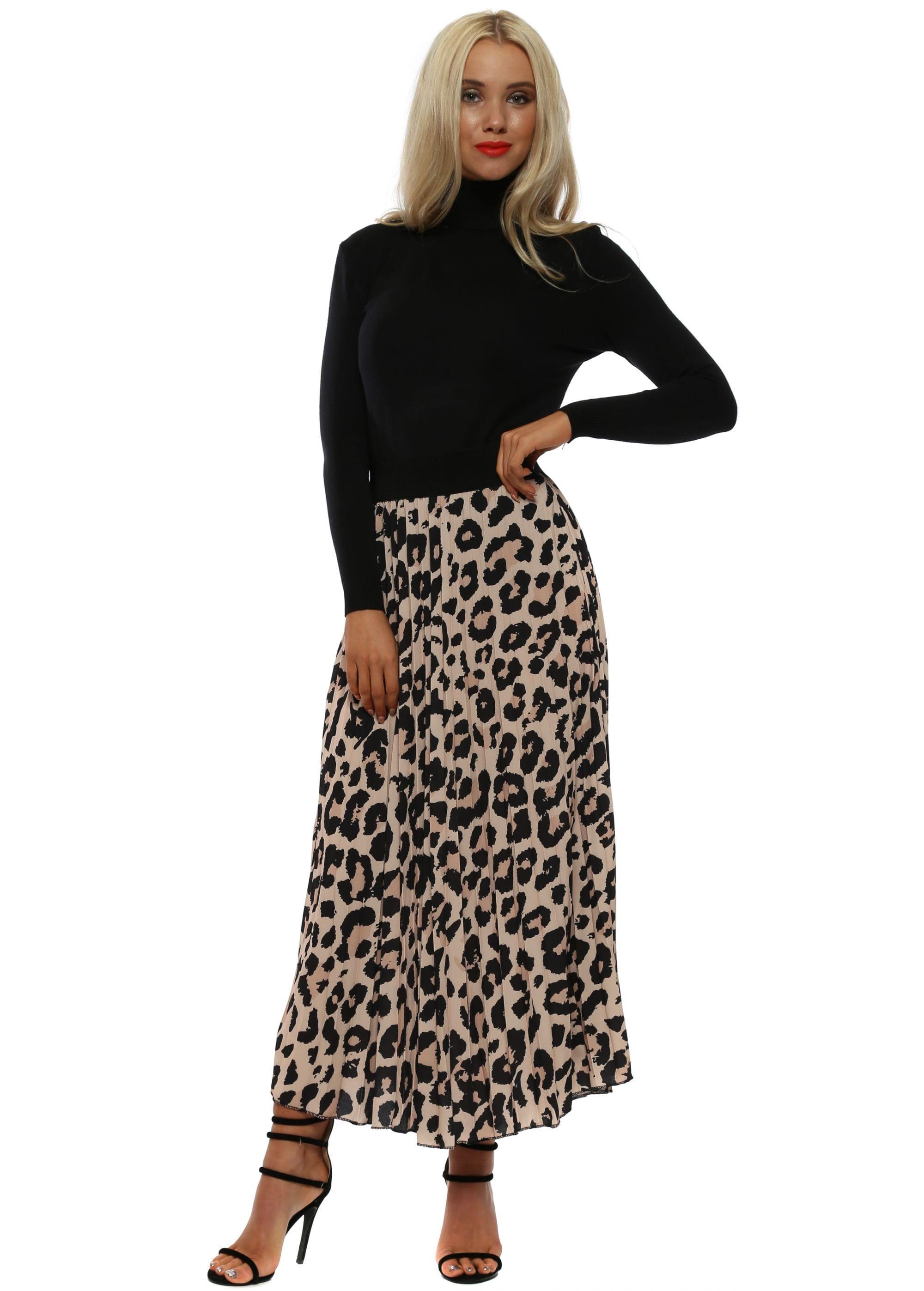 ef80201b935a Beige Leopard Print Pleated Maxi Skirt