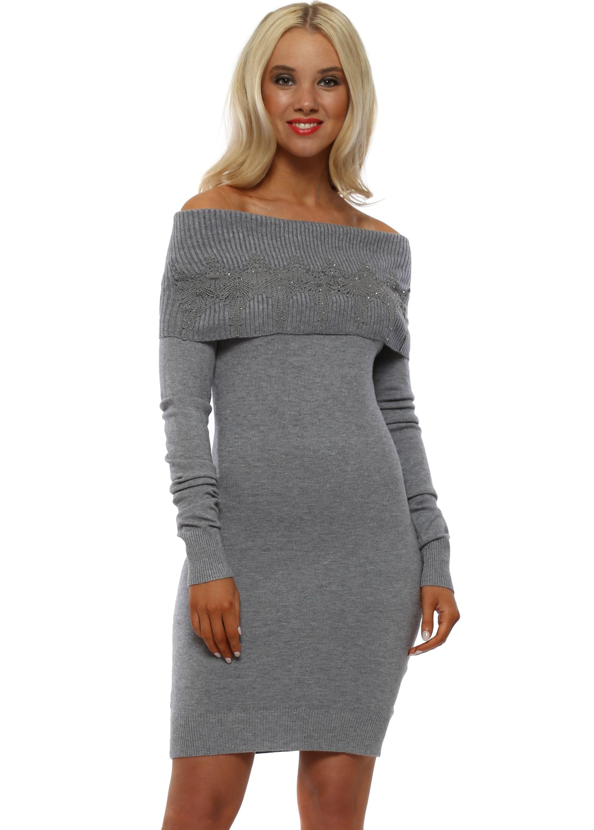 53e2d5516c Whoo Paris Grey Off The Shoulder Jumper Dress