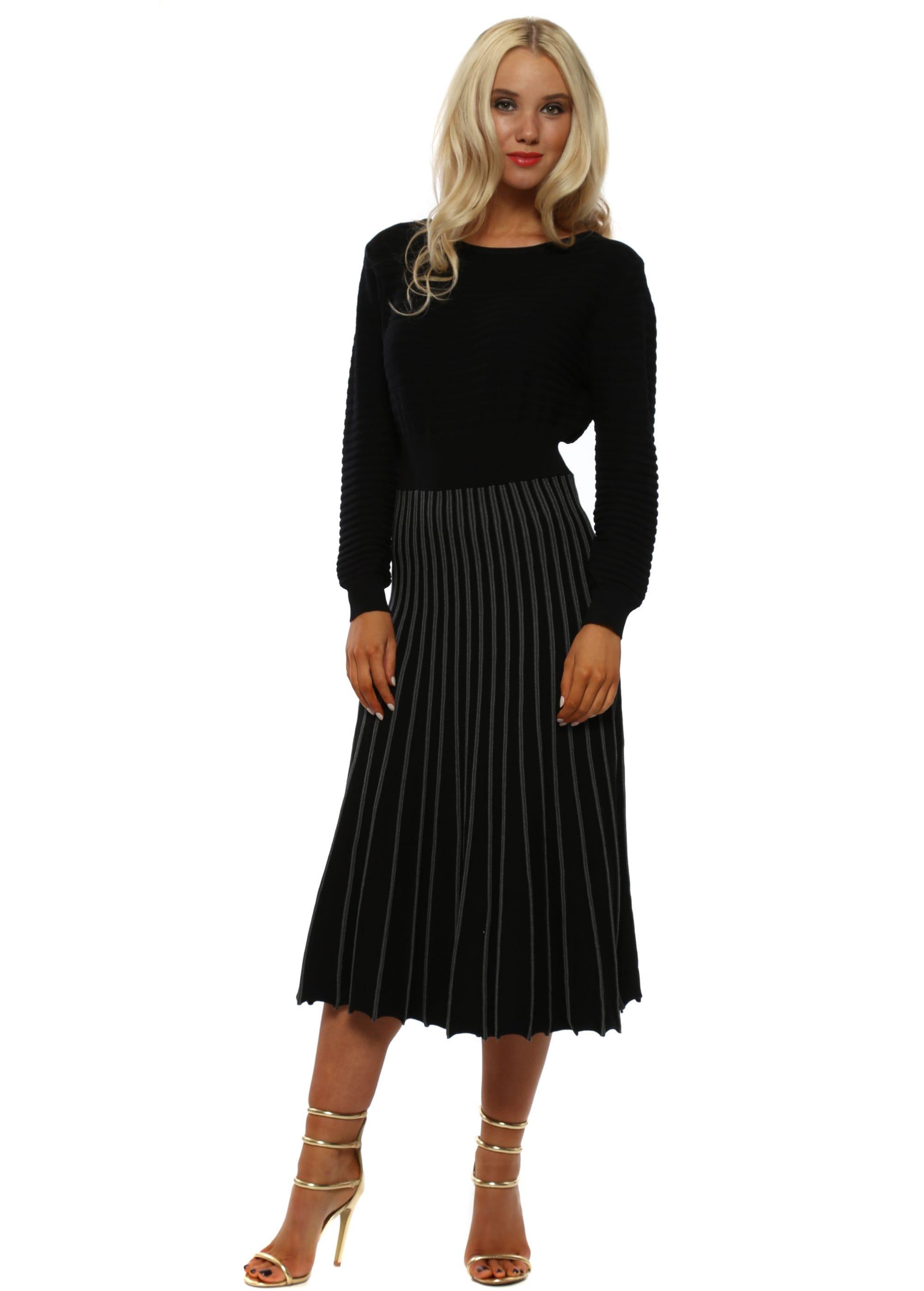 743b9ea08dafb0 Black Ribbed Fine Knit Midi Dress by Laetitia Mem