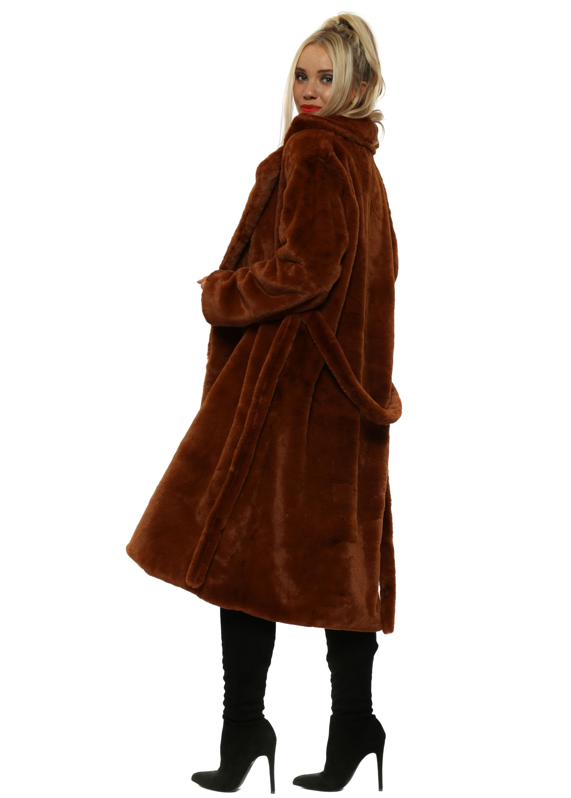 Long Brown Faux Fur Coat by Mar   Co f2f98e8b1d8