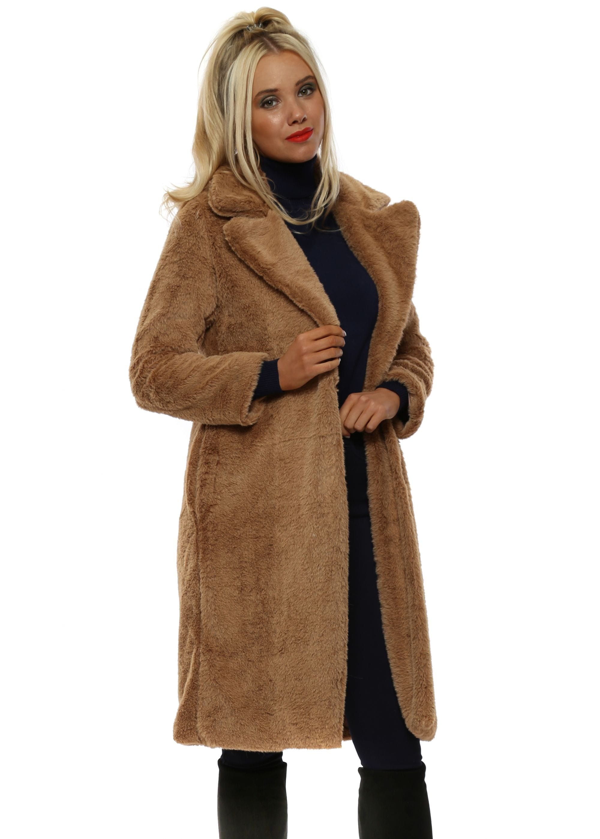 Camel Teddy Bear Faux Fur Long Coat 34ea183f551