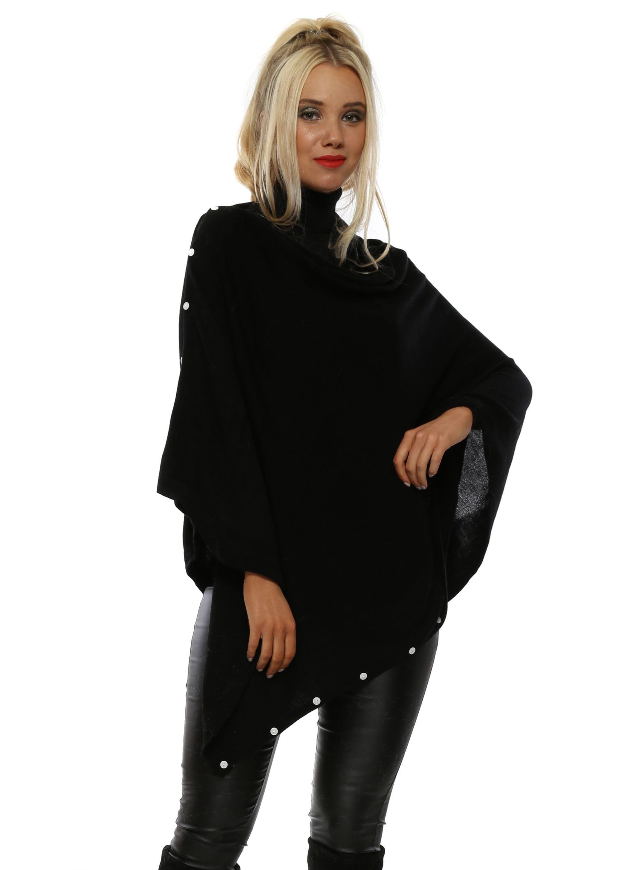 caf5c37b7 Beatrice Fine Knit Black Button Poncho