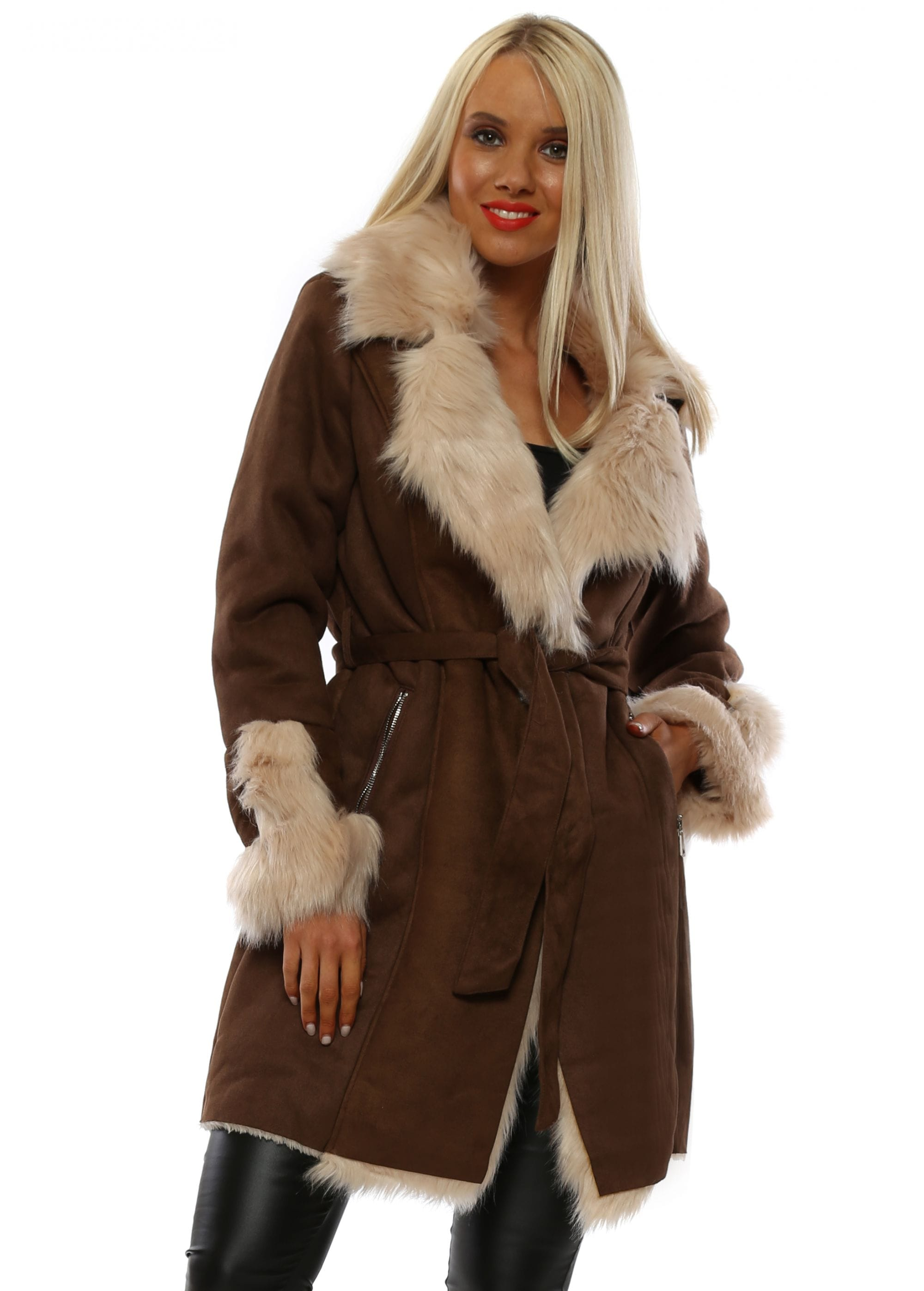 Brown Suede Faux Fur Collar Coat by Miss Sissi 2bc87881725