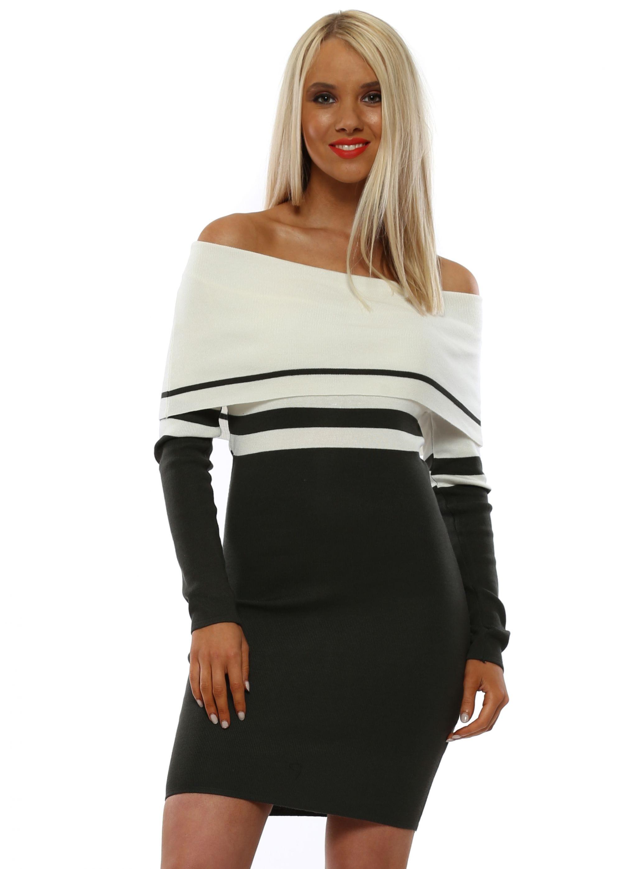 new product designer fashion cute Khaki Striped Bardot Jumper Dress