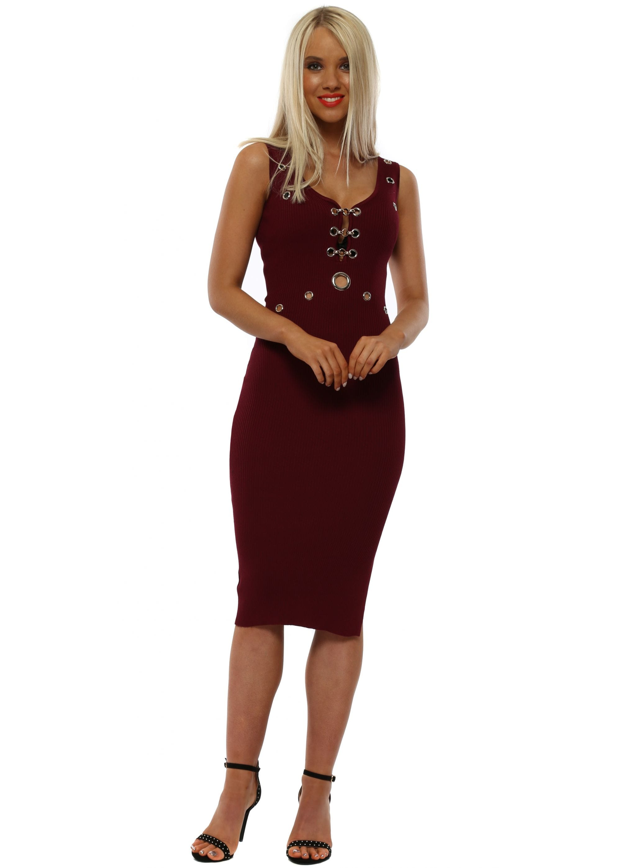 a2845475c154 Burgundy Ribbed Eyelet Midi Dress