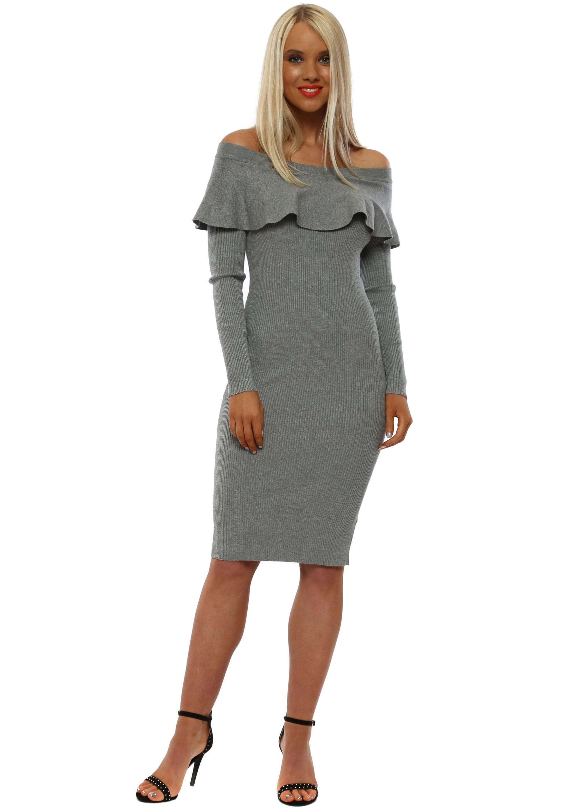 a35b0aa71f4 Grey Off The Shoulder Long Sleeved Jumper Dress