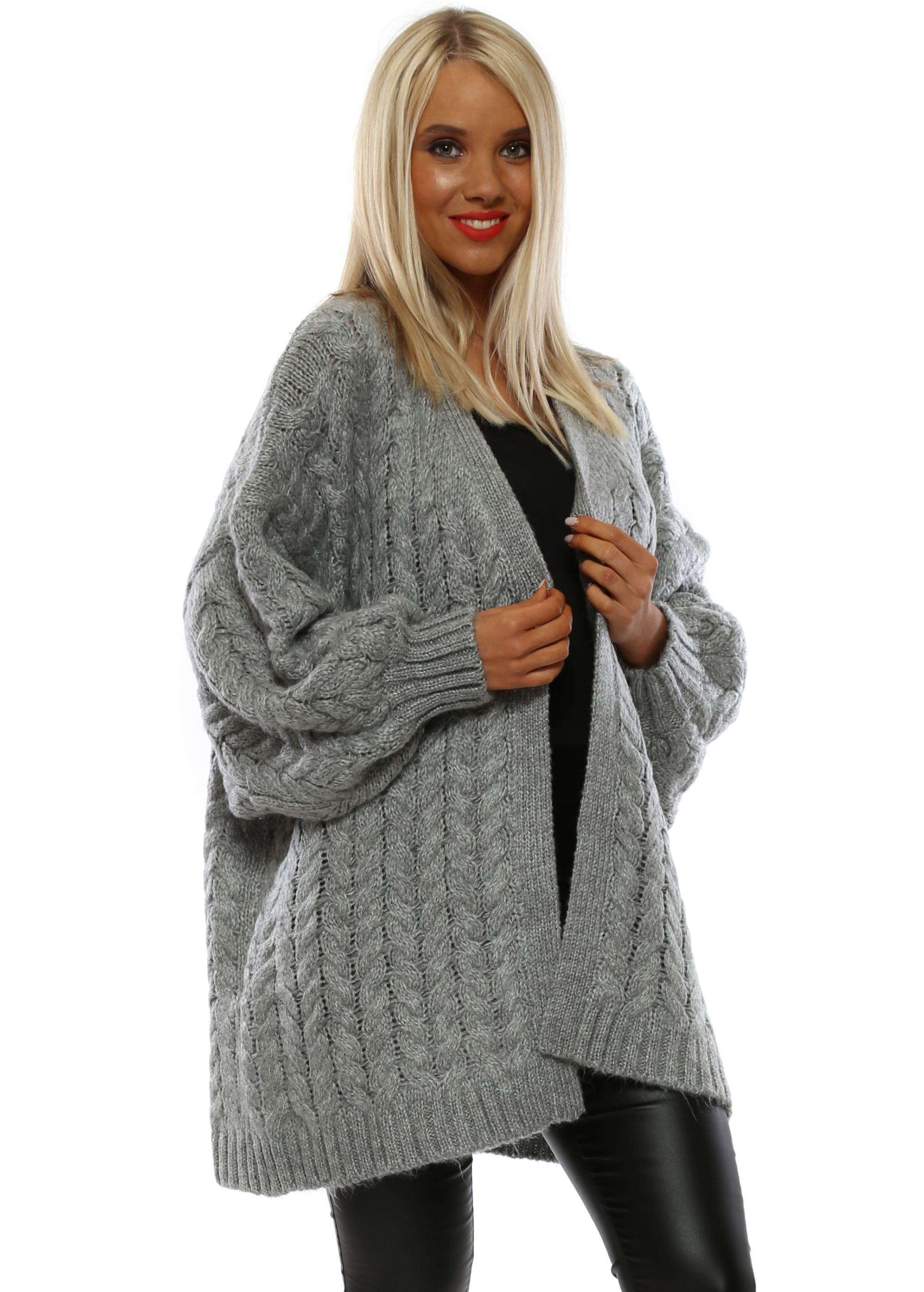 2857c74d4c Grey Chunky Knit Cardigan by Laetitia Mem