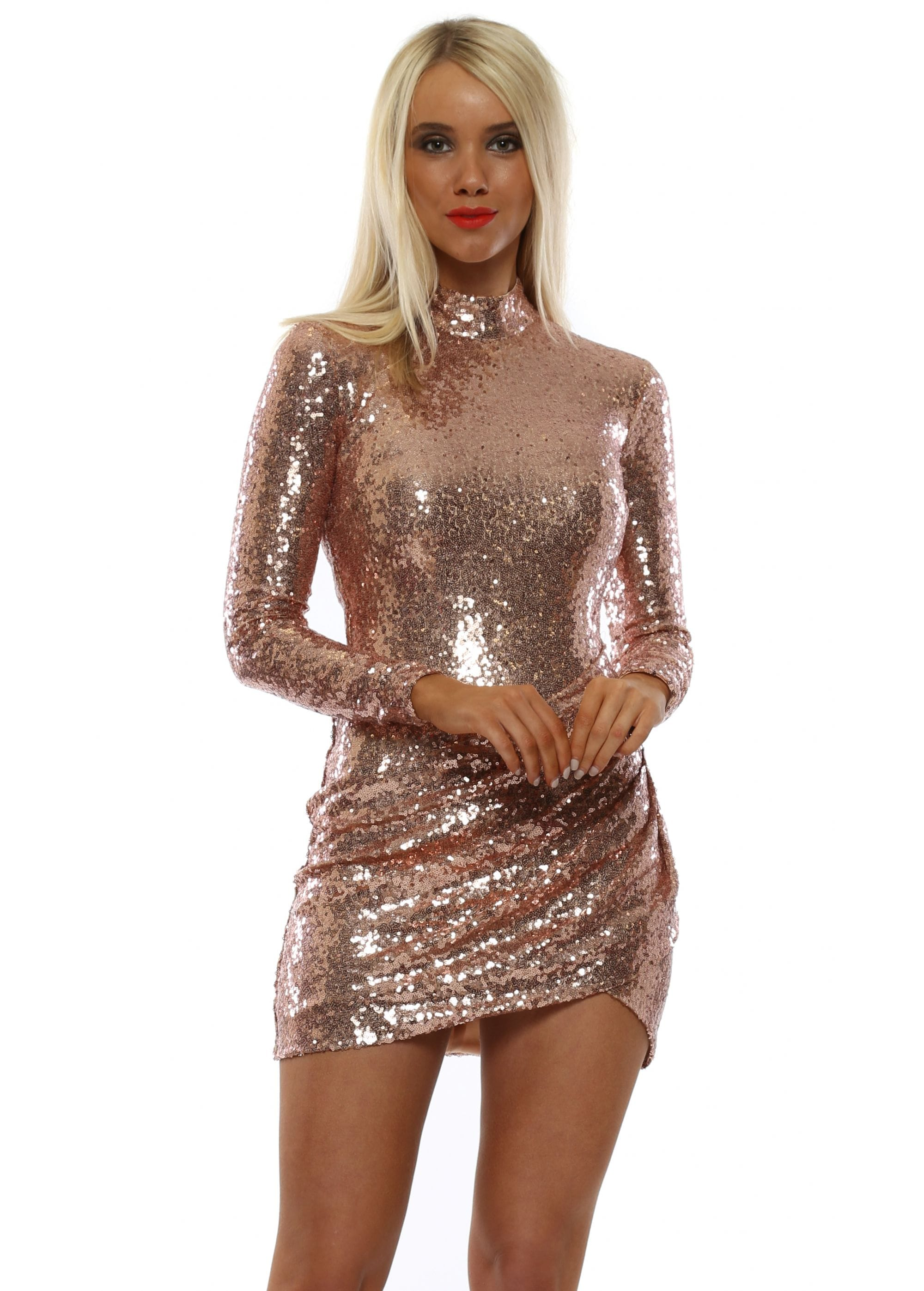 ab5d7bf7 Stephanie Pratt Rose Gold Open Back Mini Sequin Dress