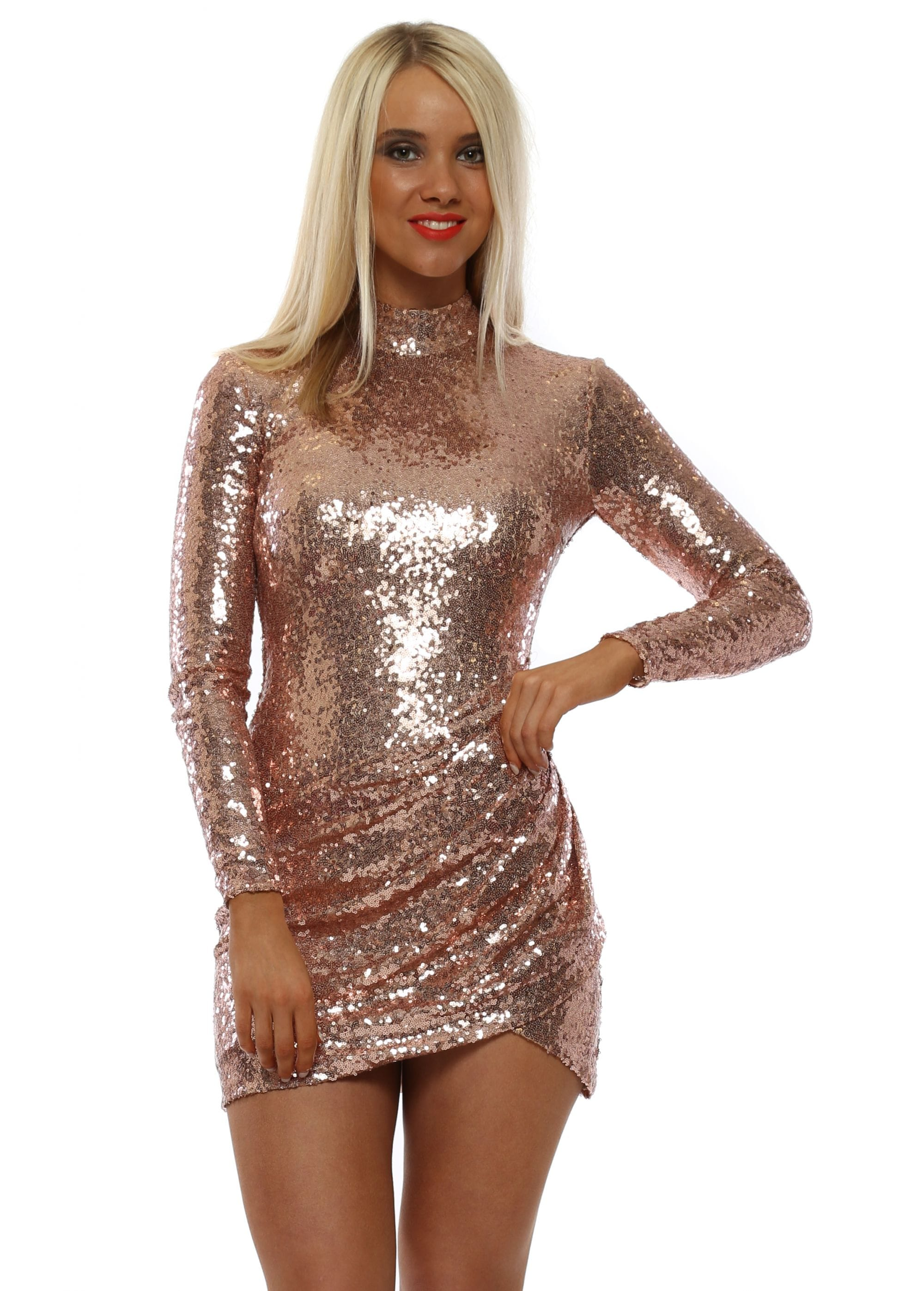 a1959226 Stephanie Pratt Rose Gold Open Back Mini Sequin Dress