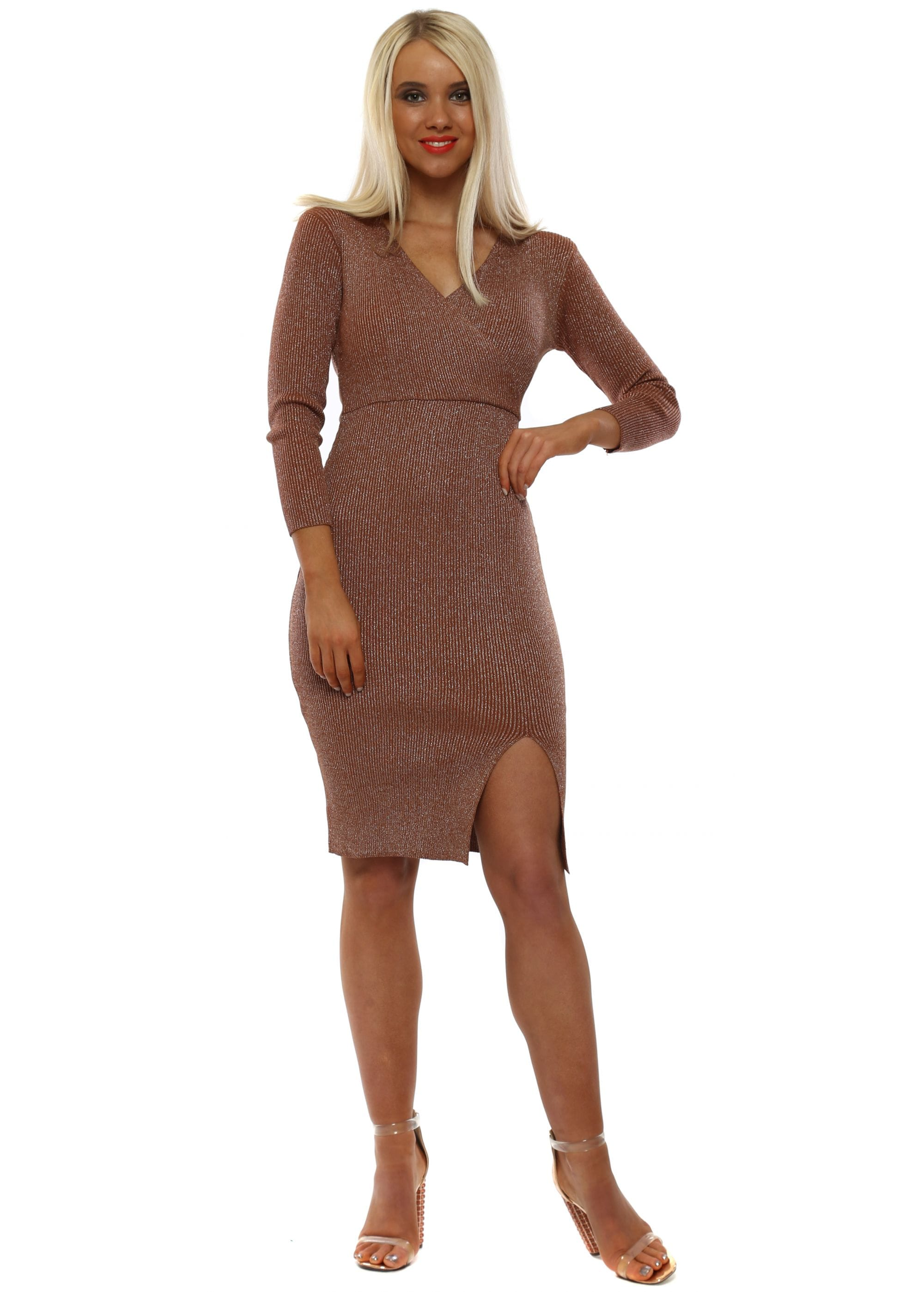 7c2f5f73 Rust Glitter Lurex Wrap Front Dress