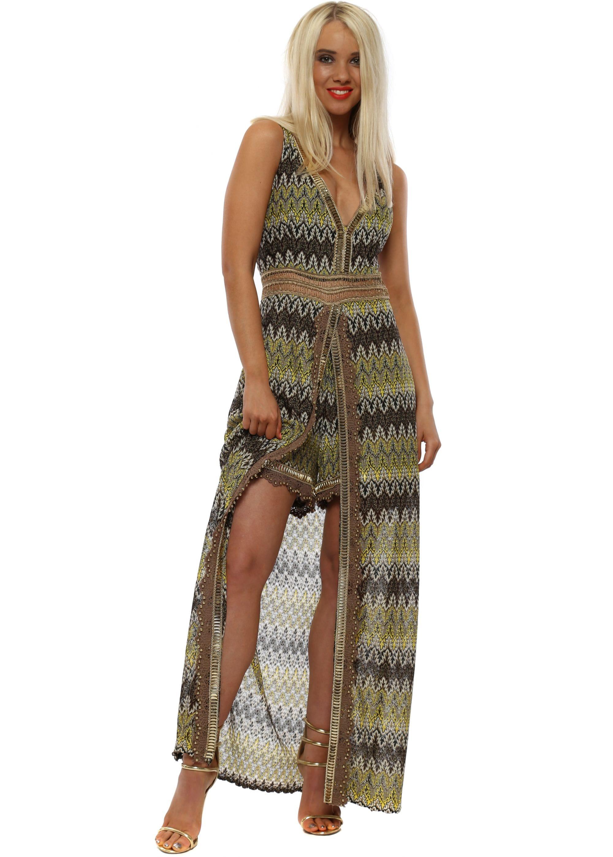 ad4ba1e03e Yellow Missi Print Maxi Dress With Shorts