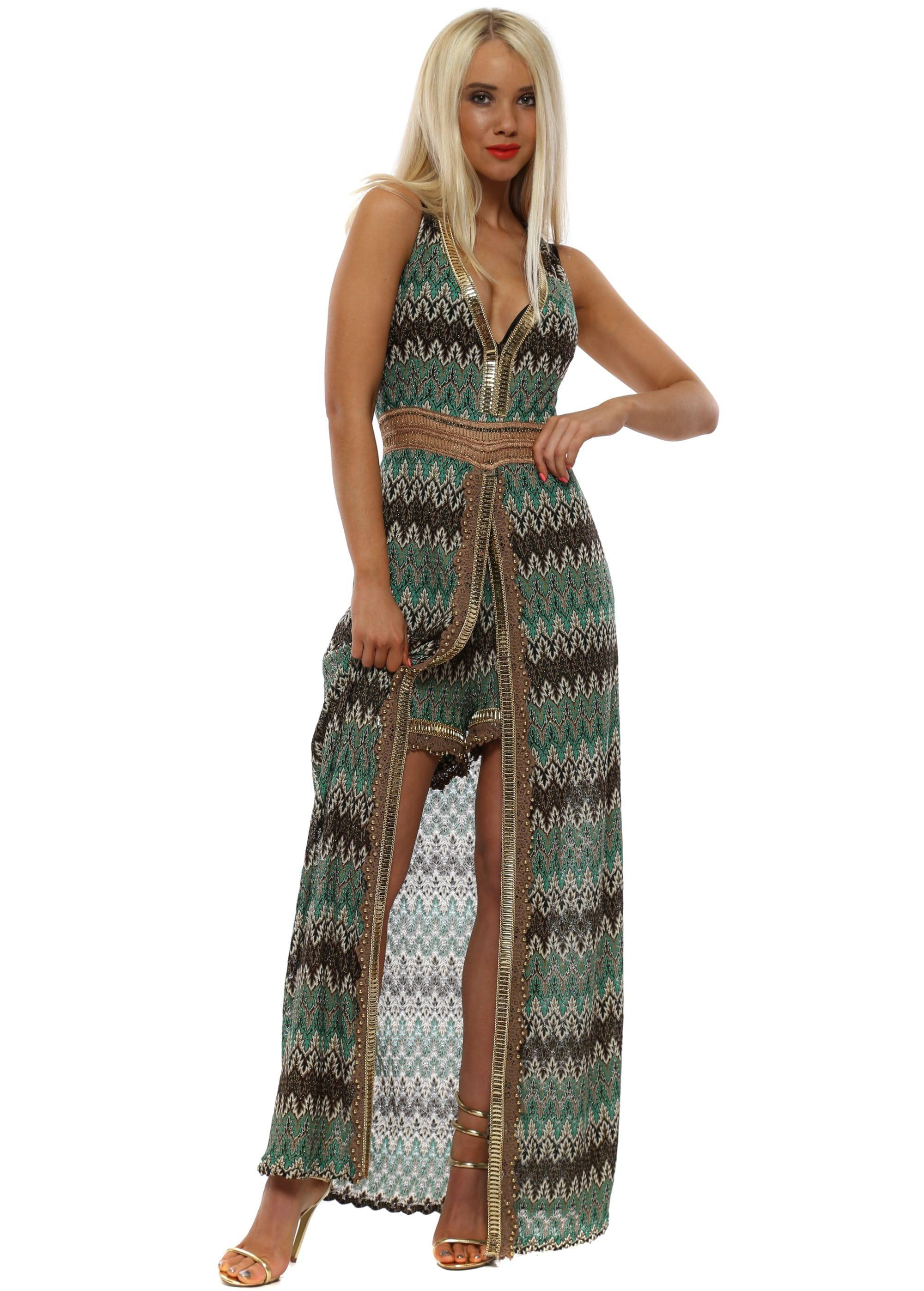 8cba616f31 Green Missi Print Maxi Dress With Shorts