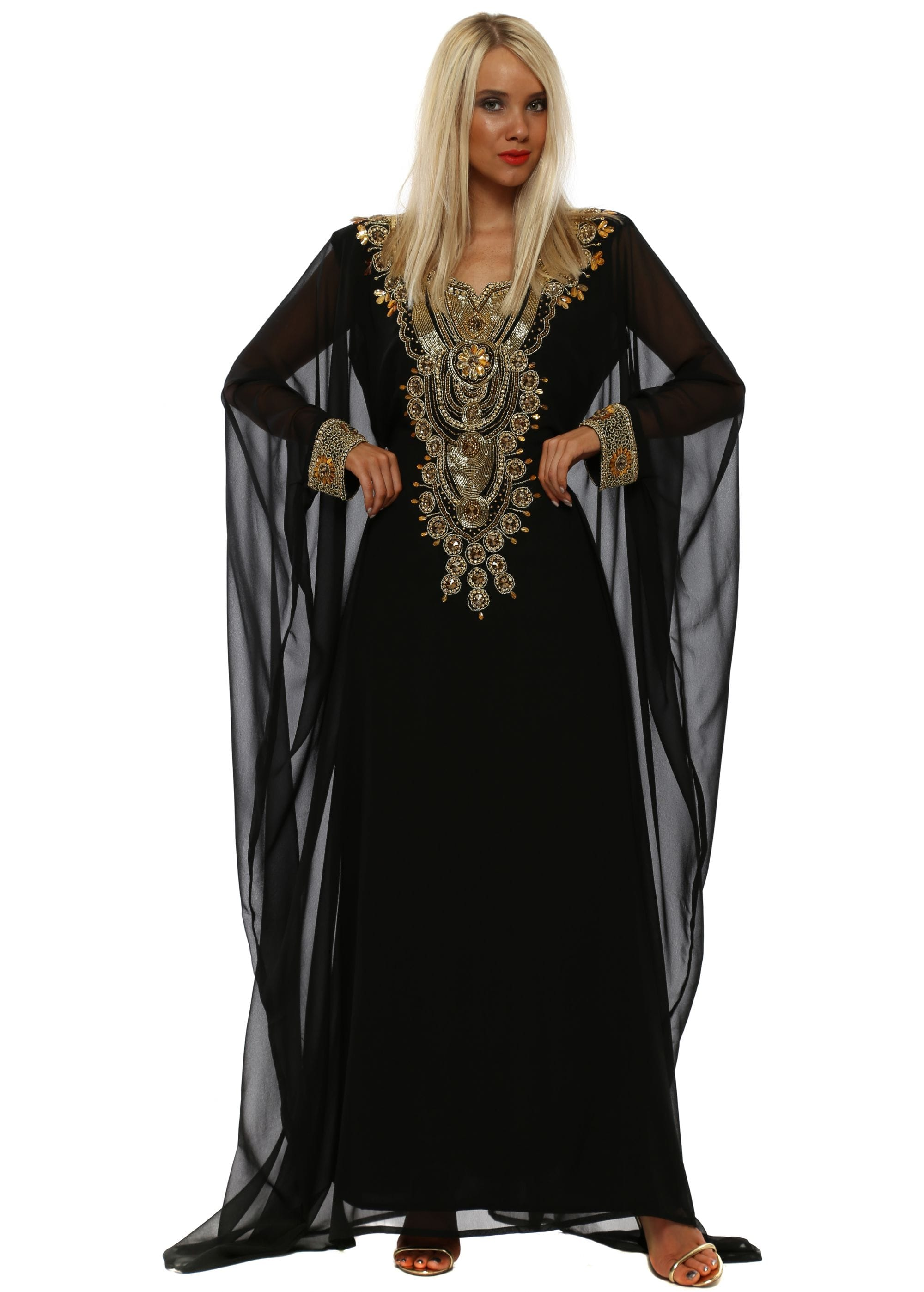 cfb30cc1f88 Black Luxe Gold Embellished Maxi Kaftan Dress
