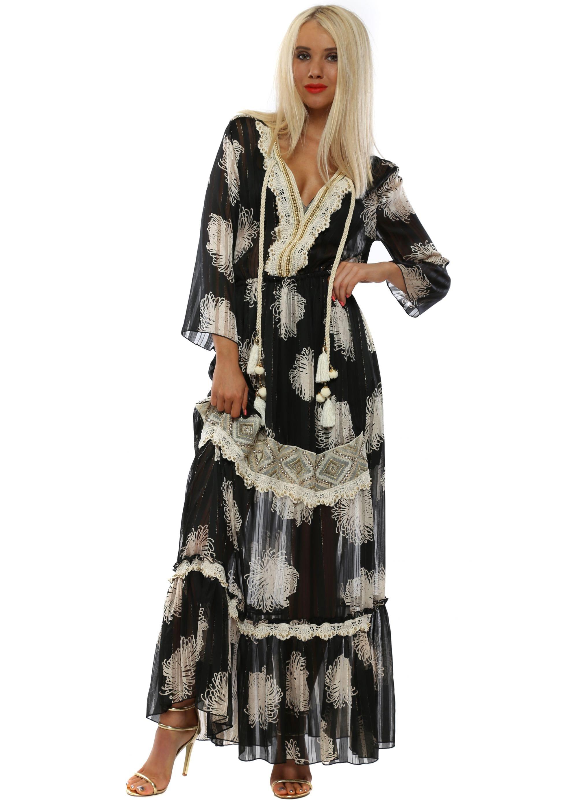 145507f1f Laurie and Joe Black Chiffon Cold Shoulder Boho Maxi Dress