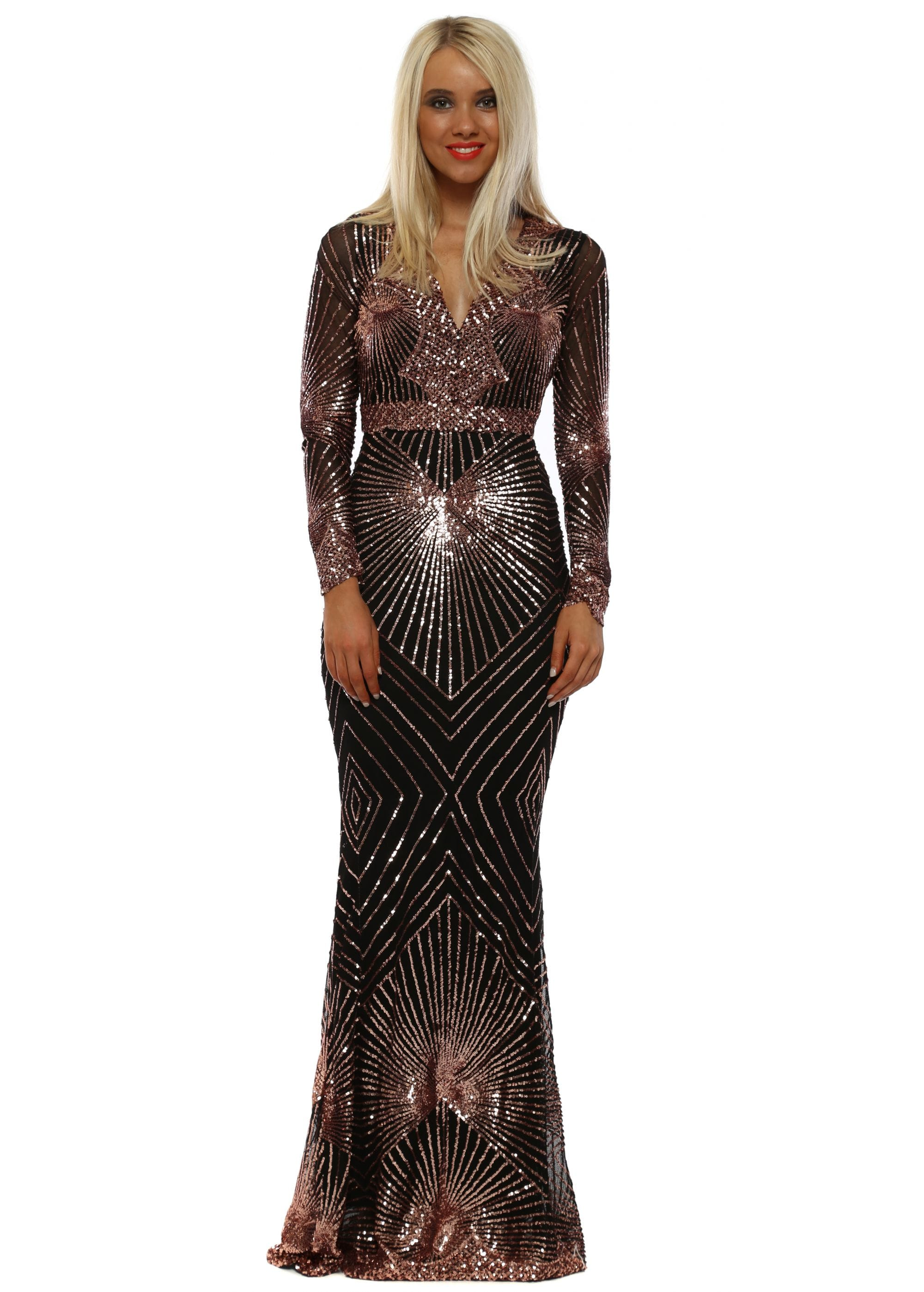 58738d33a3 Stephanie Pratt Starburst Rose Gold Sequin Maxi Dress