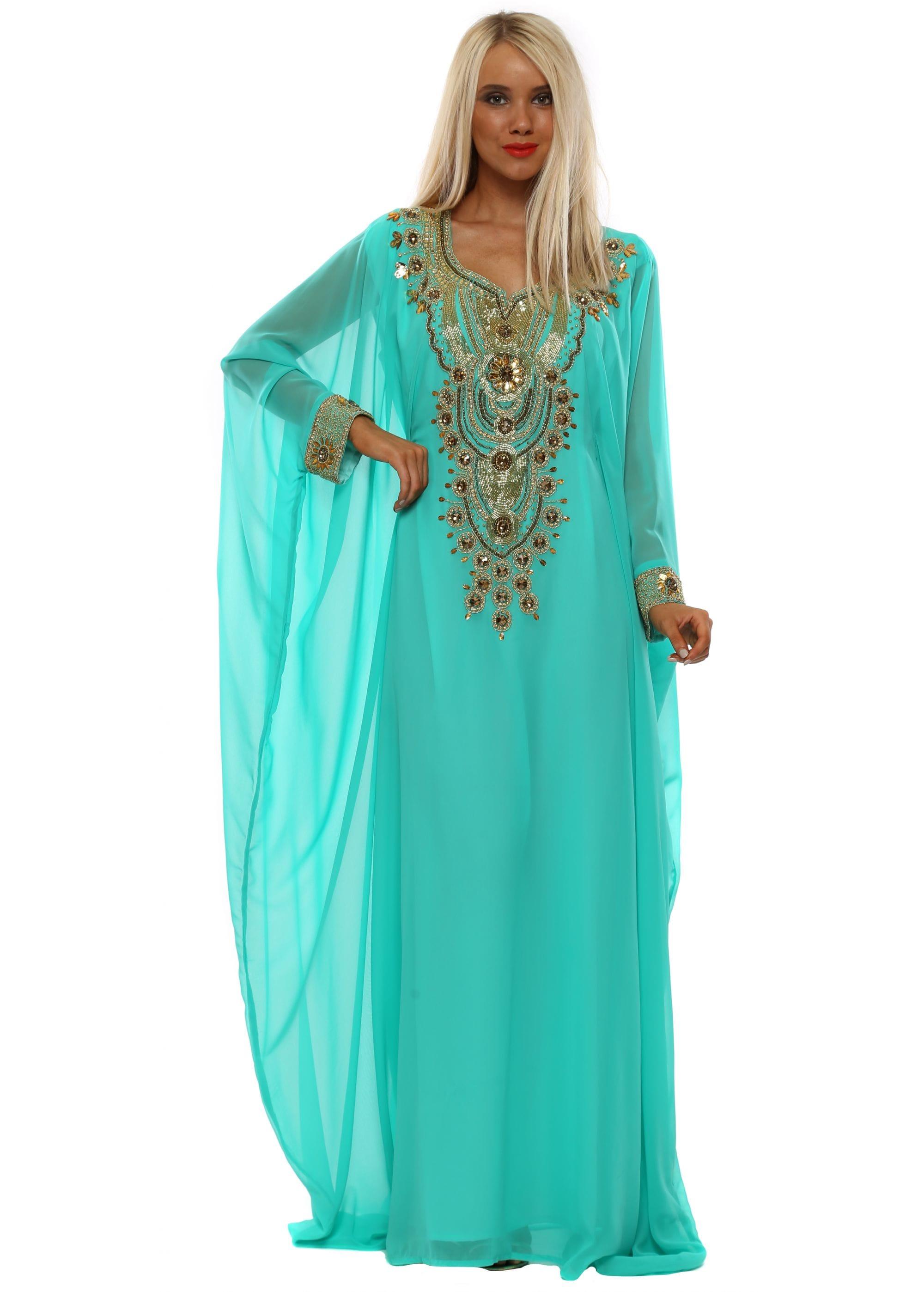 e329caa22f84a Jade Luxe Gold Embellished Maxi Kaftan Dress