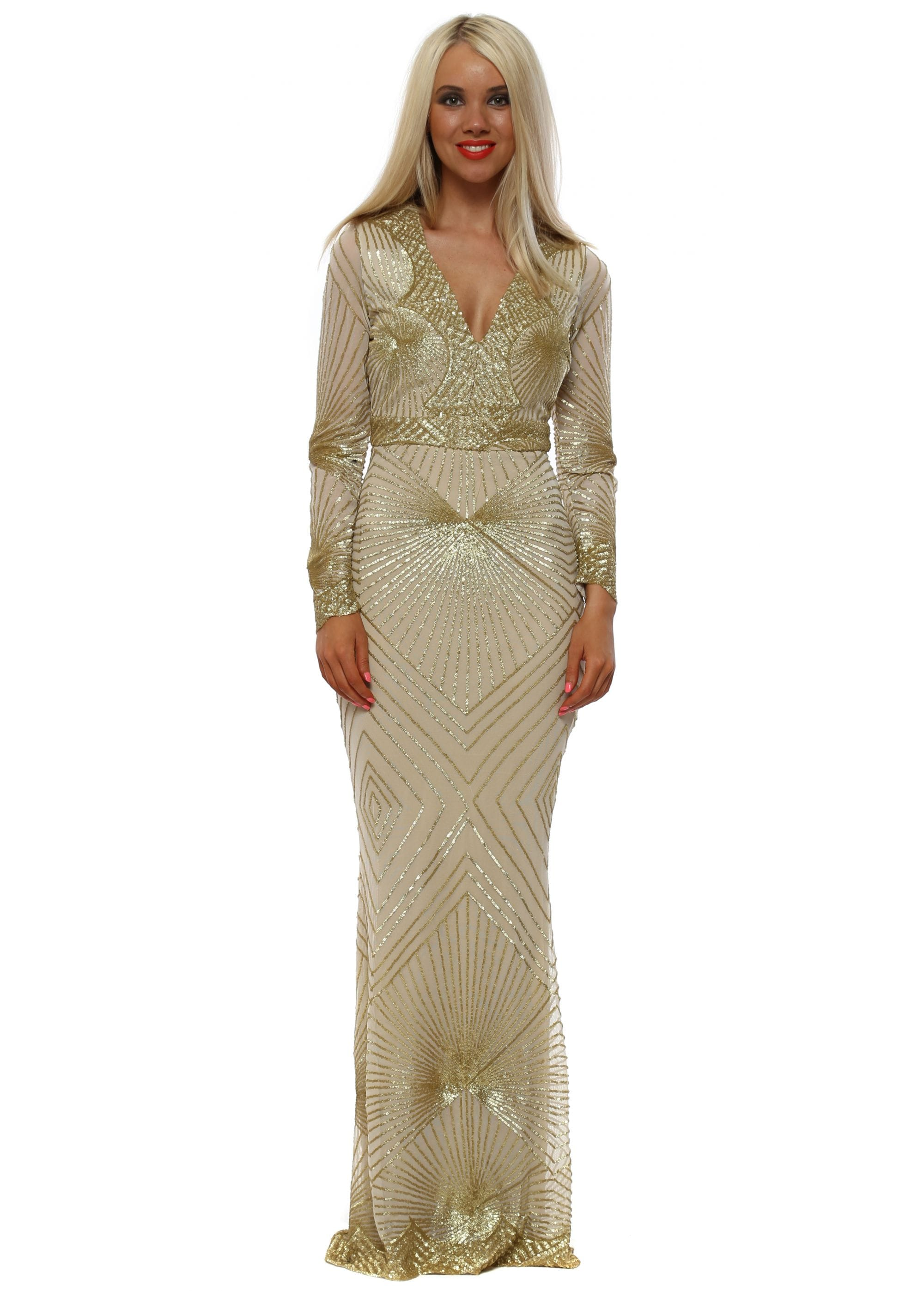 c9391c6970 Stephanie Pratt Starburst Gold Sequin Maxi Dress