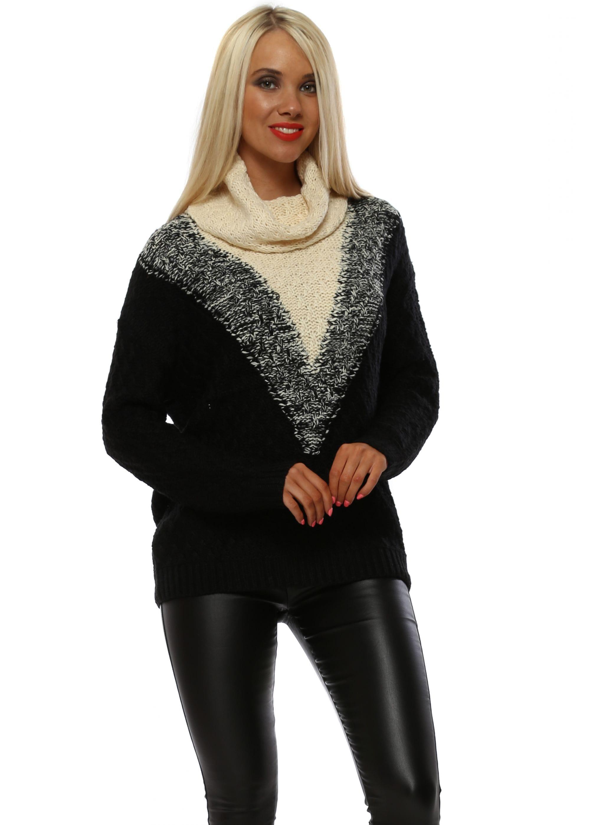 8fec46a92d4 Monochrome Chunky Knit Roll Neck Jumper