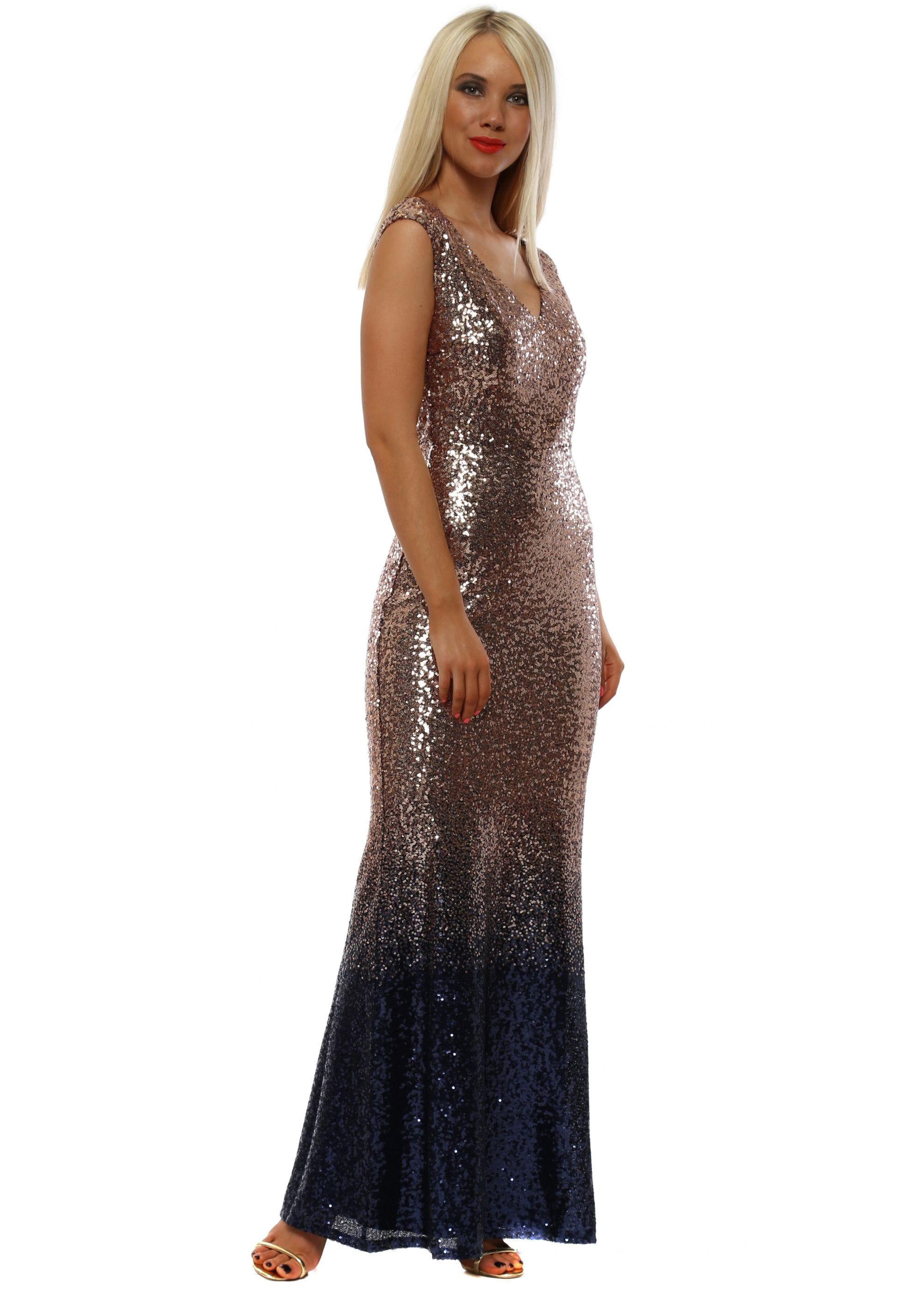 8329c2e95f Stephanie Pratt Champagne Ombre Sequinned Maxi Dress