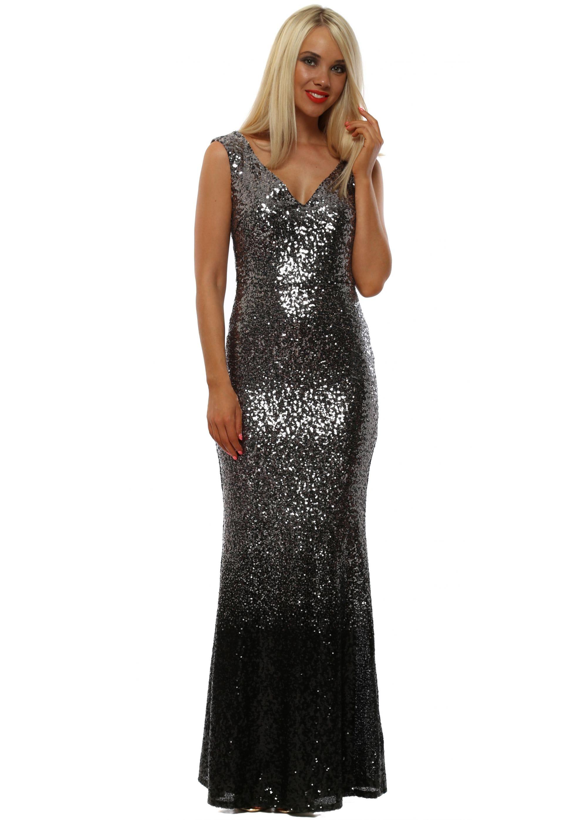 26c2c399632 Stephanie Pratt Silver Ombre Sequinned Maxi Dress