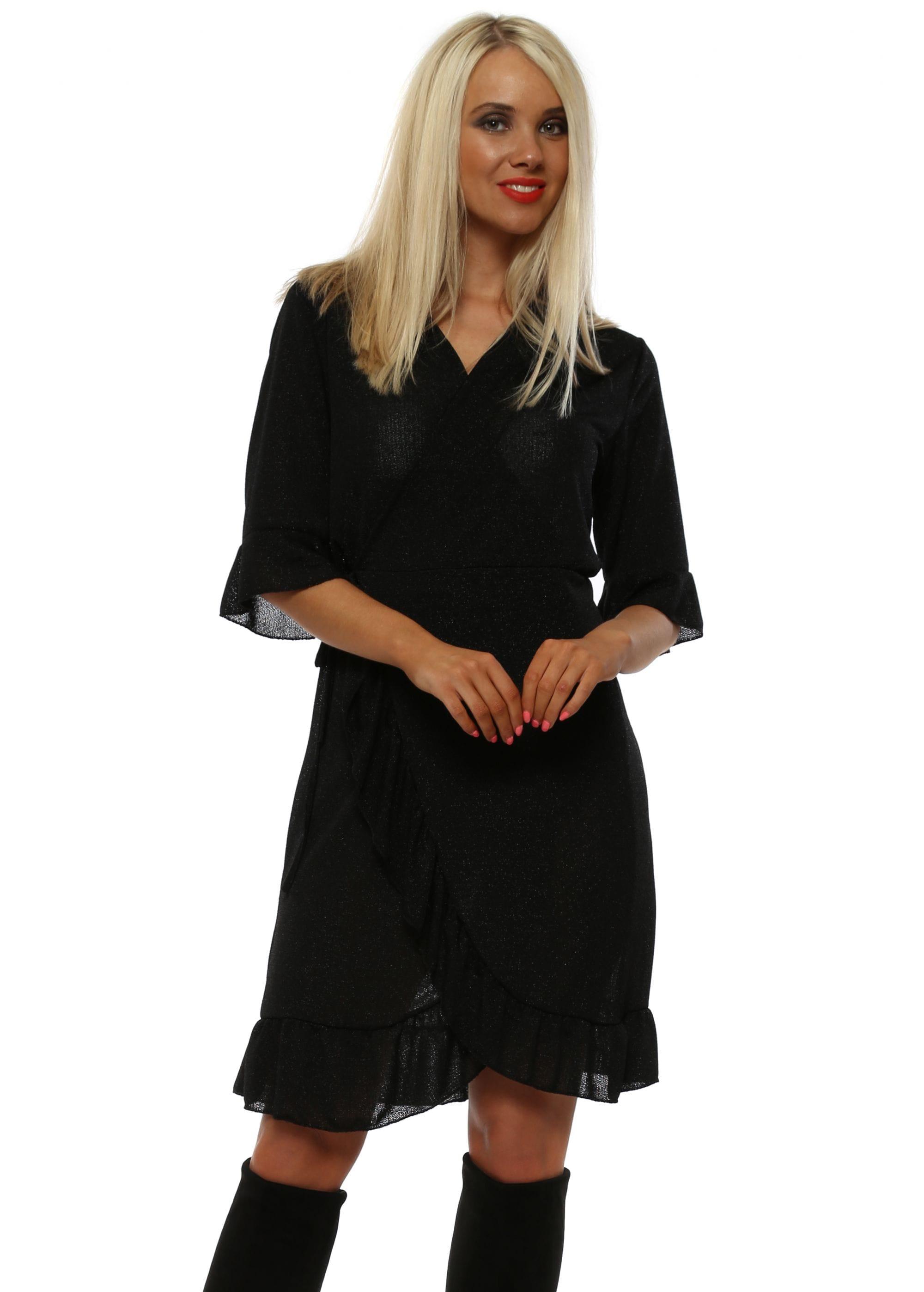 f8b3968949 Black Sparkle Mini Wrap Dress