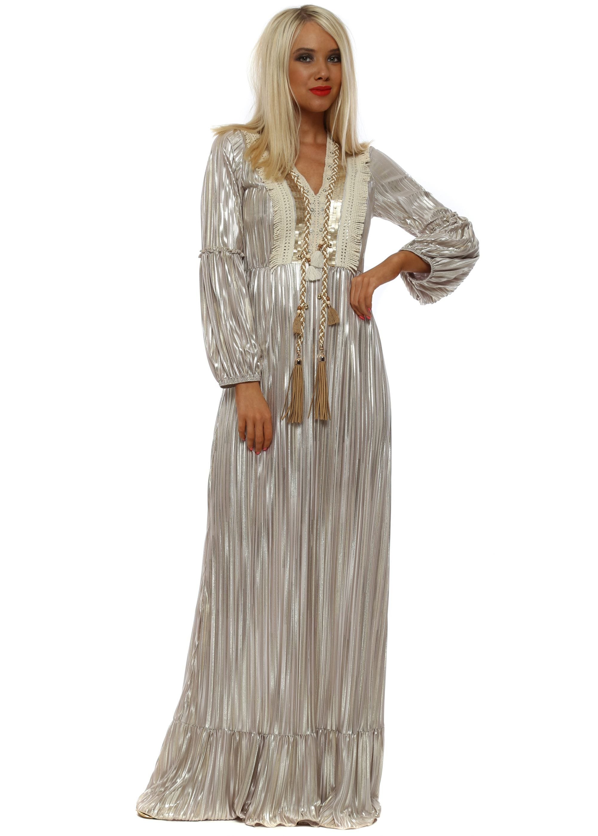 66ae8ce43c8 Gold Pleated Foil Embellished Maxi Dress